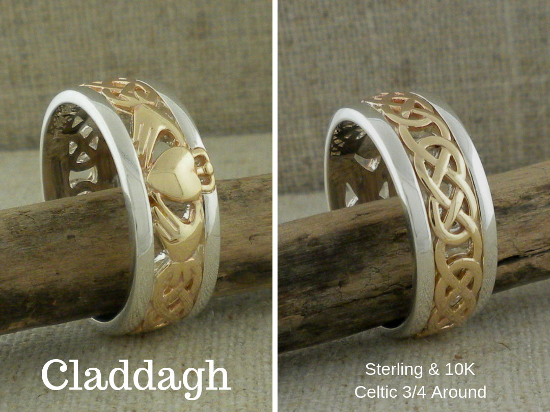 Sterling Silver and 10K Claddagh Wedding Ring by Keith Jack