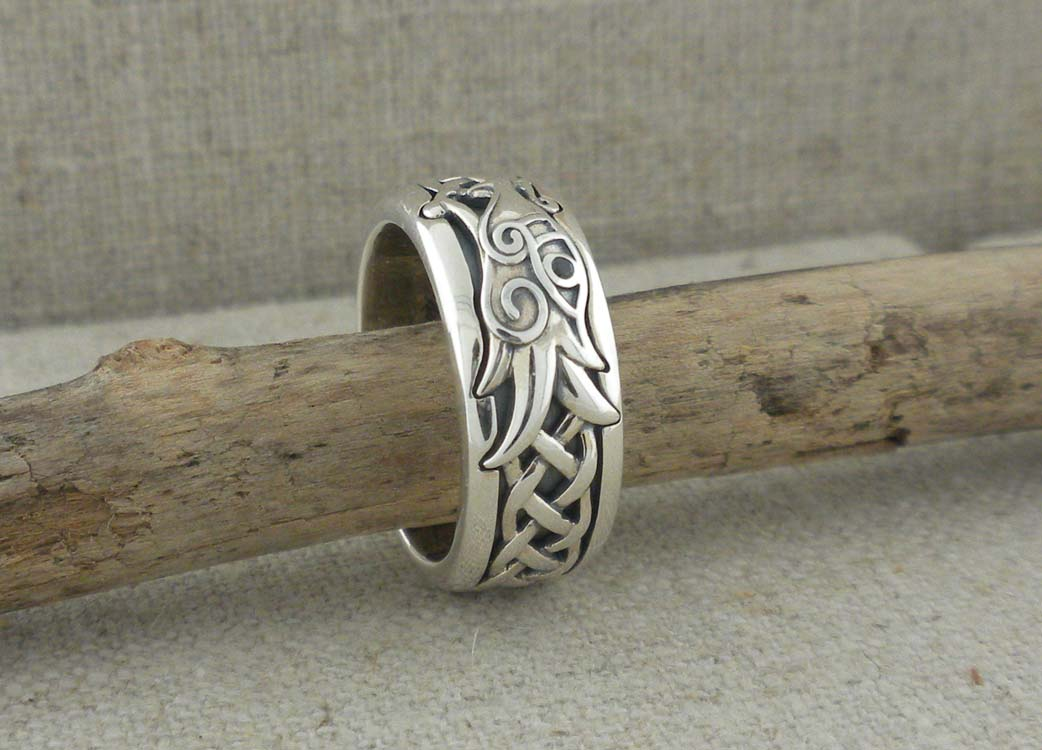 Sterling Silver Celtic Knot and Dragon Wedding Ring