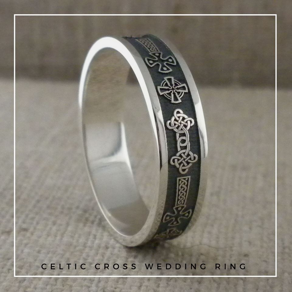 Celtic Cross Wedding Ring in Sterling Silver