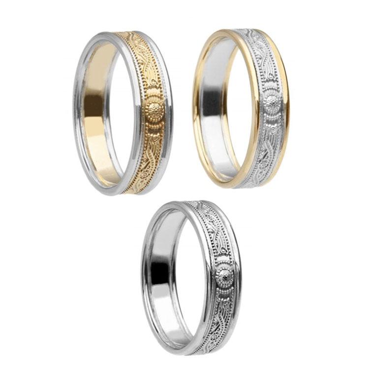 Ladies Narrow Celtic Warrior Shield Wedding Ring with Trim