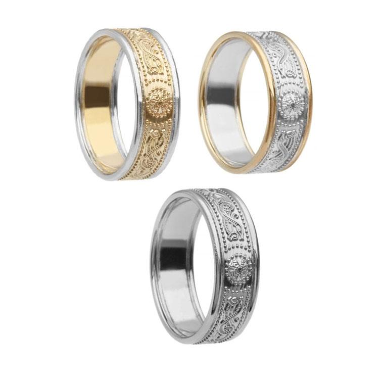6.9 mm Celtic Warrior Shield Wedding Ring with Trim
