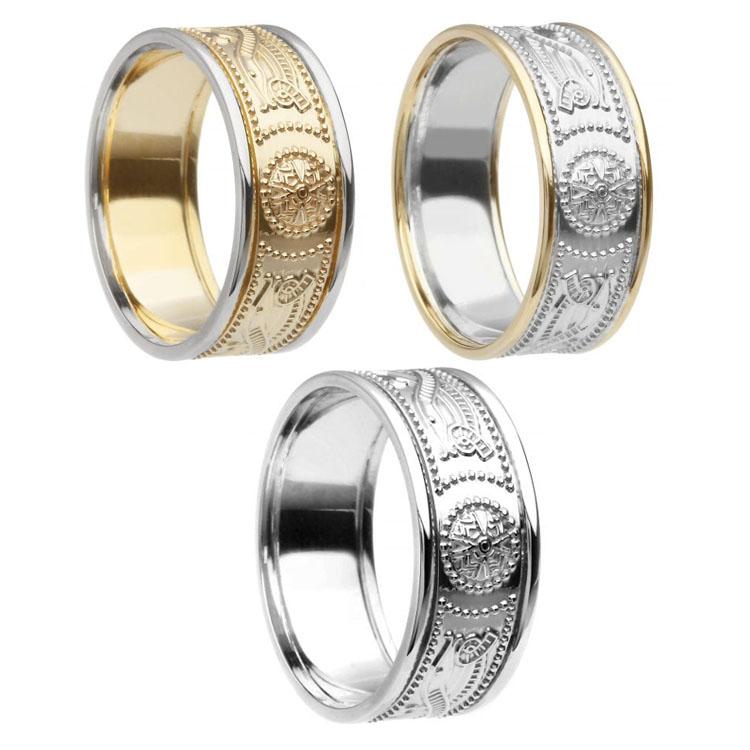 8.9 mm Celtic Warrior Shield Wedding Ring with Trim