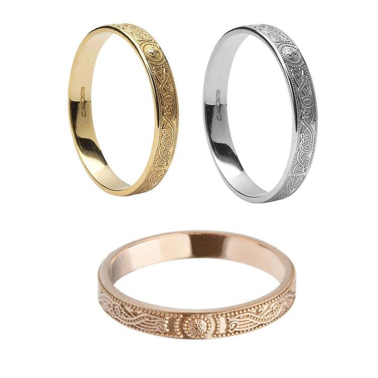 Ladies Narrow Celtic Warrior Shield Wedding Ring
