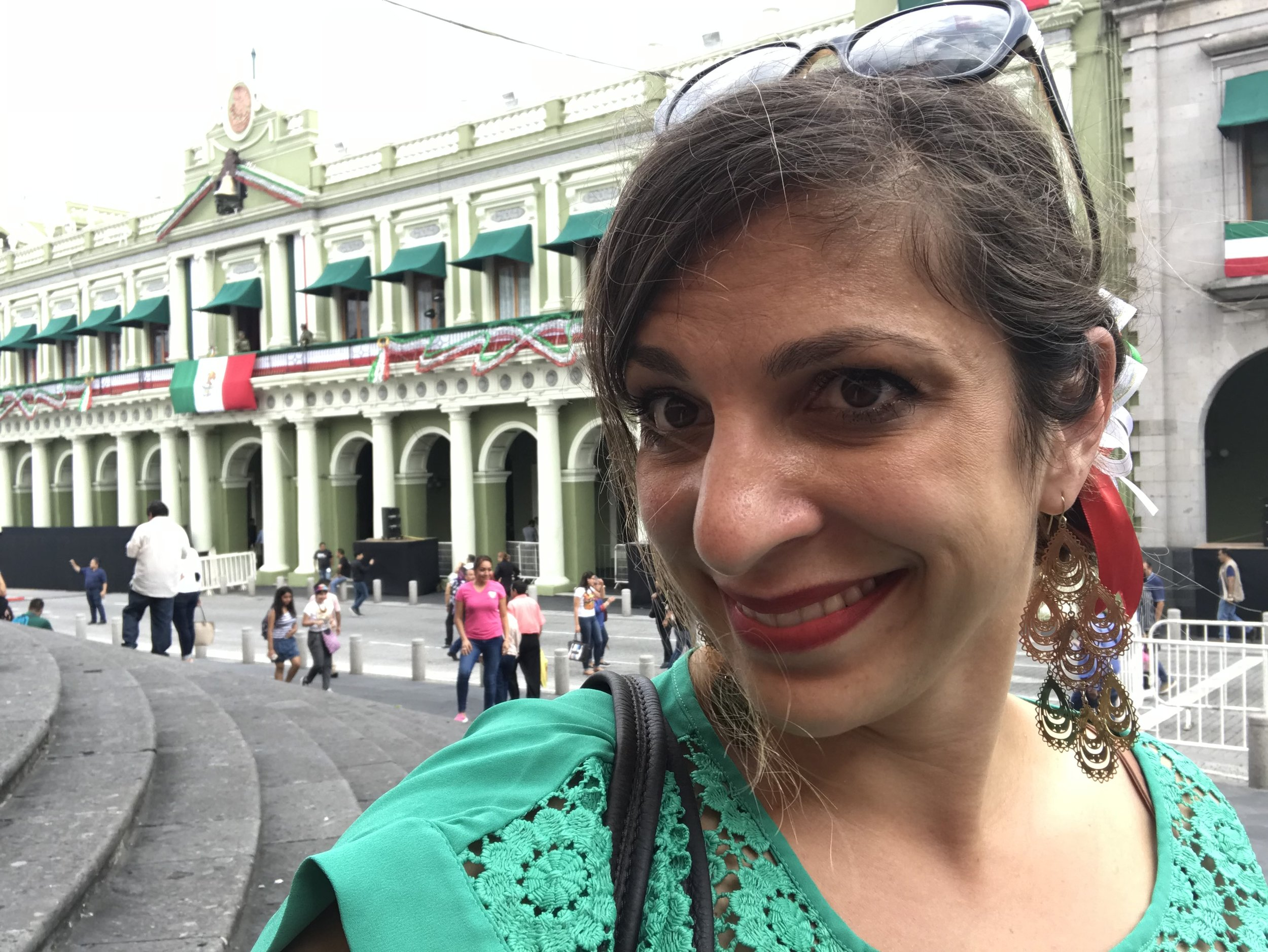 Me in front of the city hall before El Grito. Much like in the US some Mexicans dress in the red-white-green colors of the flag, while many do not. I went for it, because ¡Viva México! (Though I ironically felt like more of a gringa walking through the streets than on any other day since my arrival.)