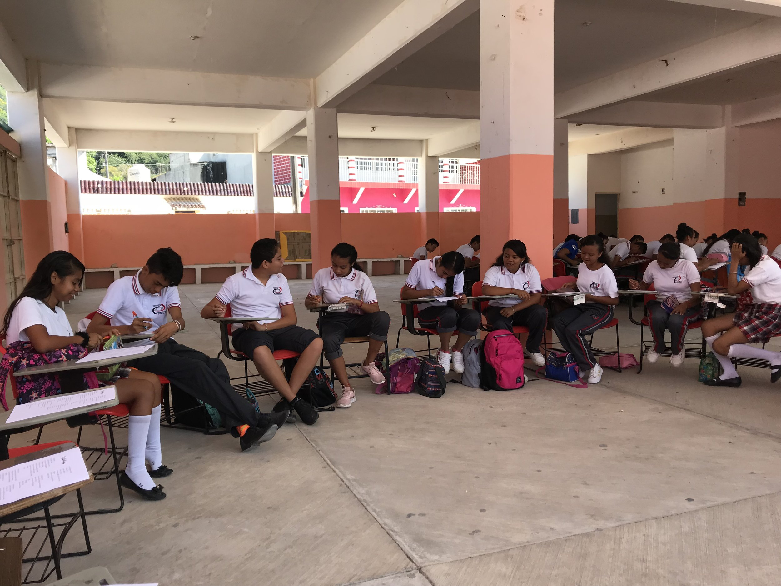 Students at Coyolillo High School sitting in a writing circle. (October 2018)