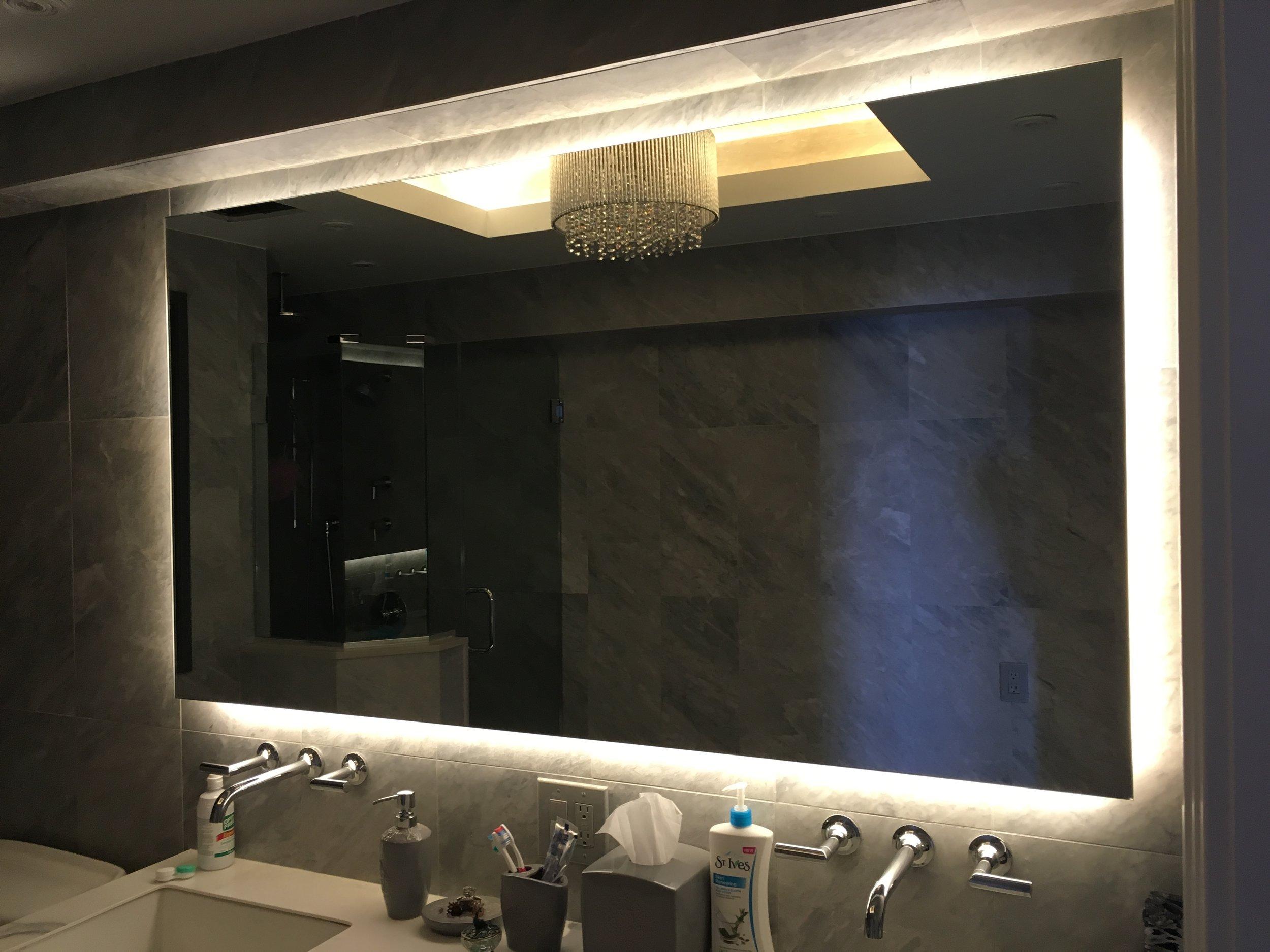 Behind-mirror LED tape light