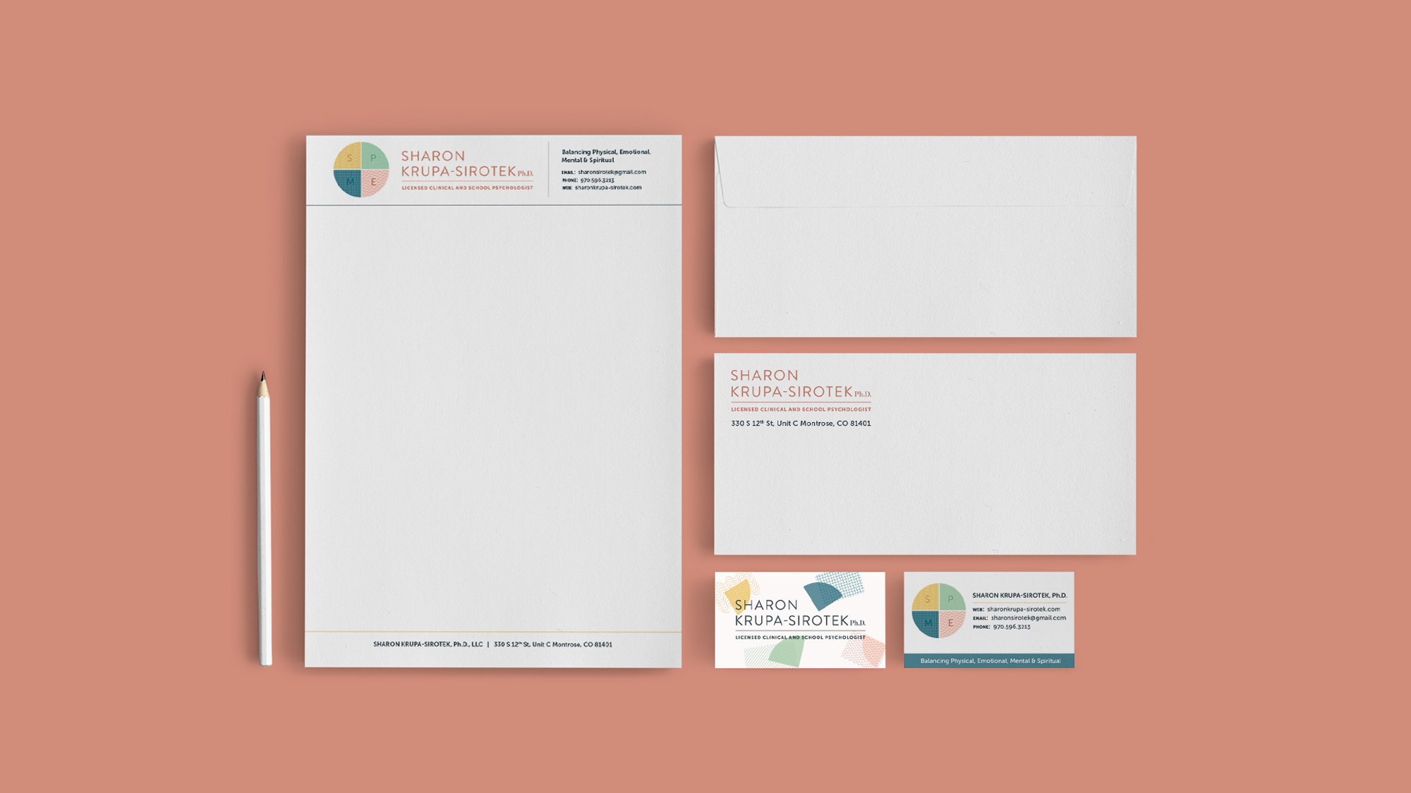 We designed a full brand identity suite for Sharon Krupa-Sirotek, including business cards, branded letterhead, and an envelope