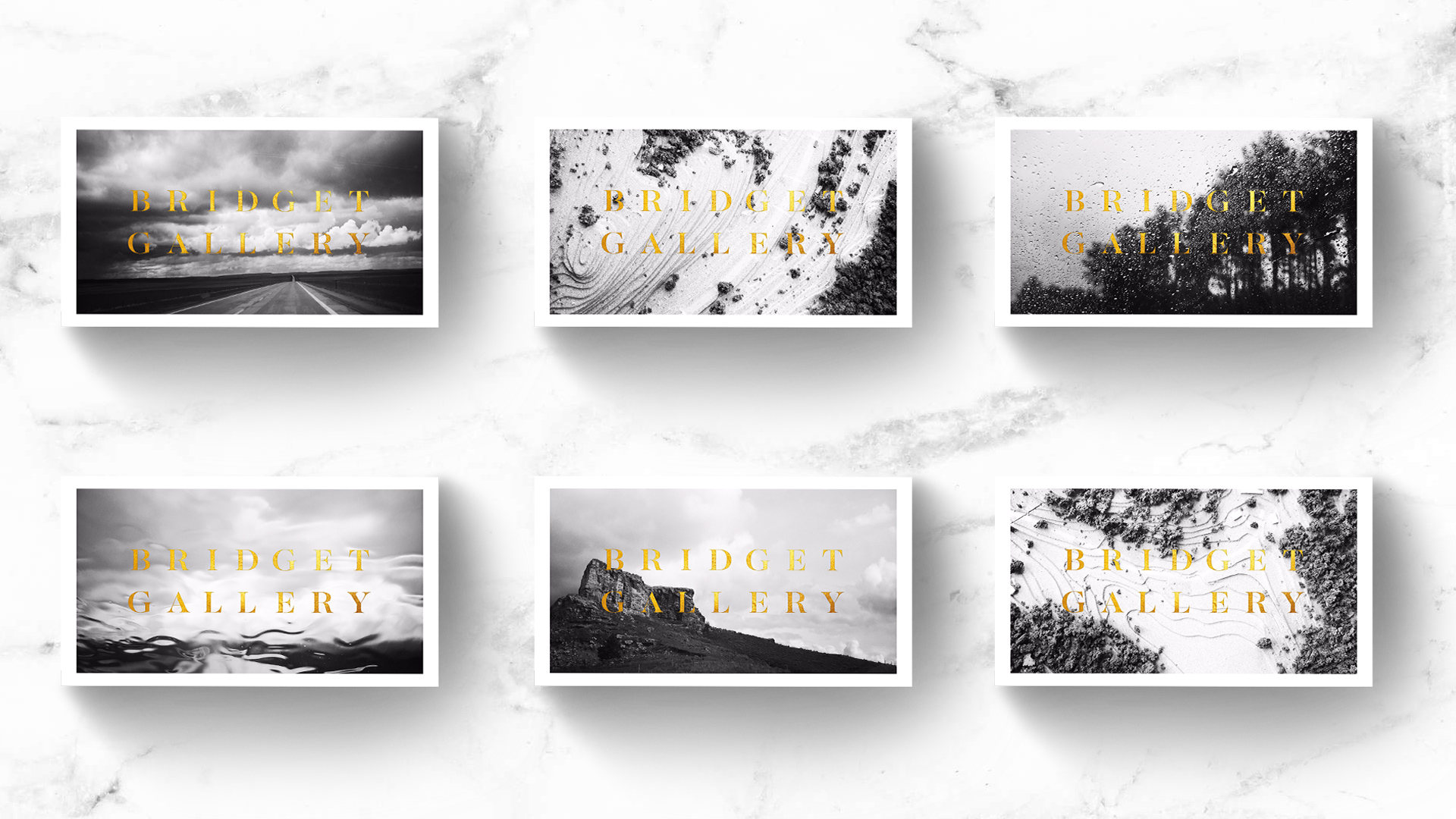 An overhead view of the business cards we designed for Bridget Gallery Photography
