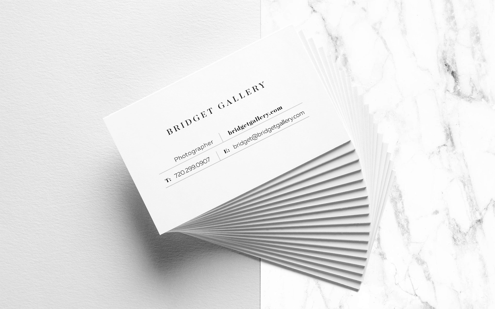 The informational side of Bridget Gallery Photography's business cards