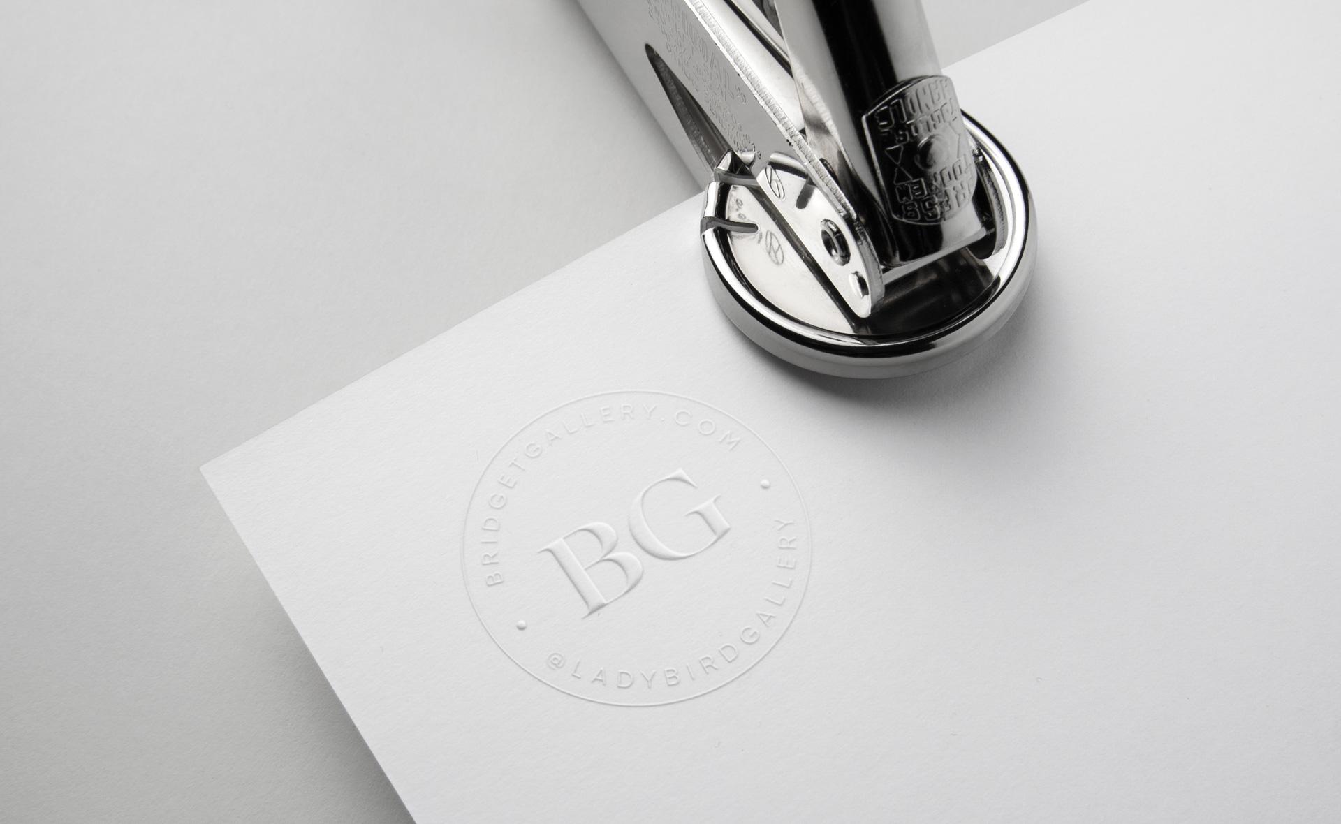 "Bridget Gallery Photography ""BG"" monogram logo stamp"