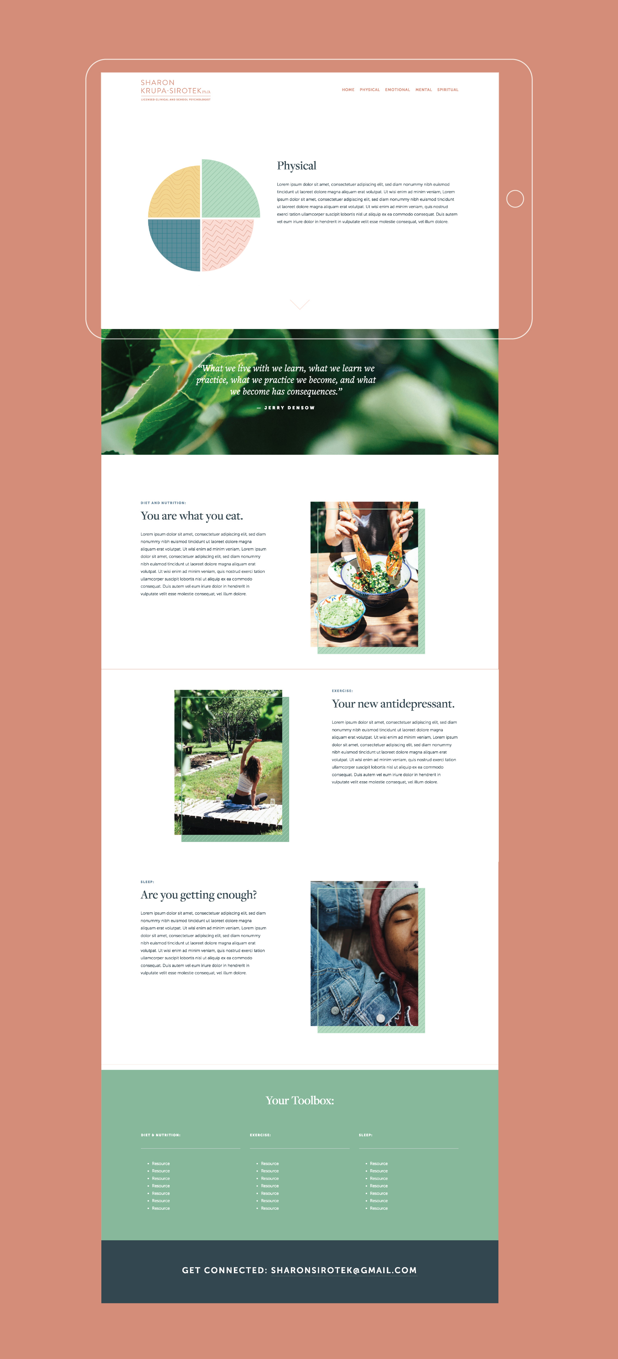 One of the pages of the website we designed for Sharon Krupa-Sirotek, a licensed clinical and school psychologist