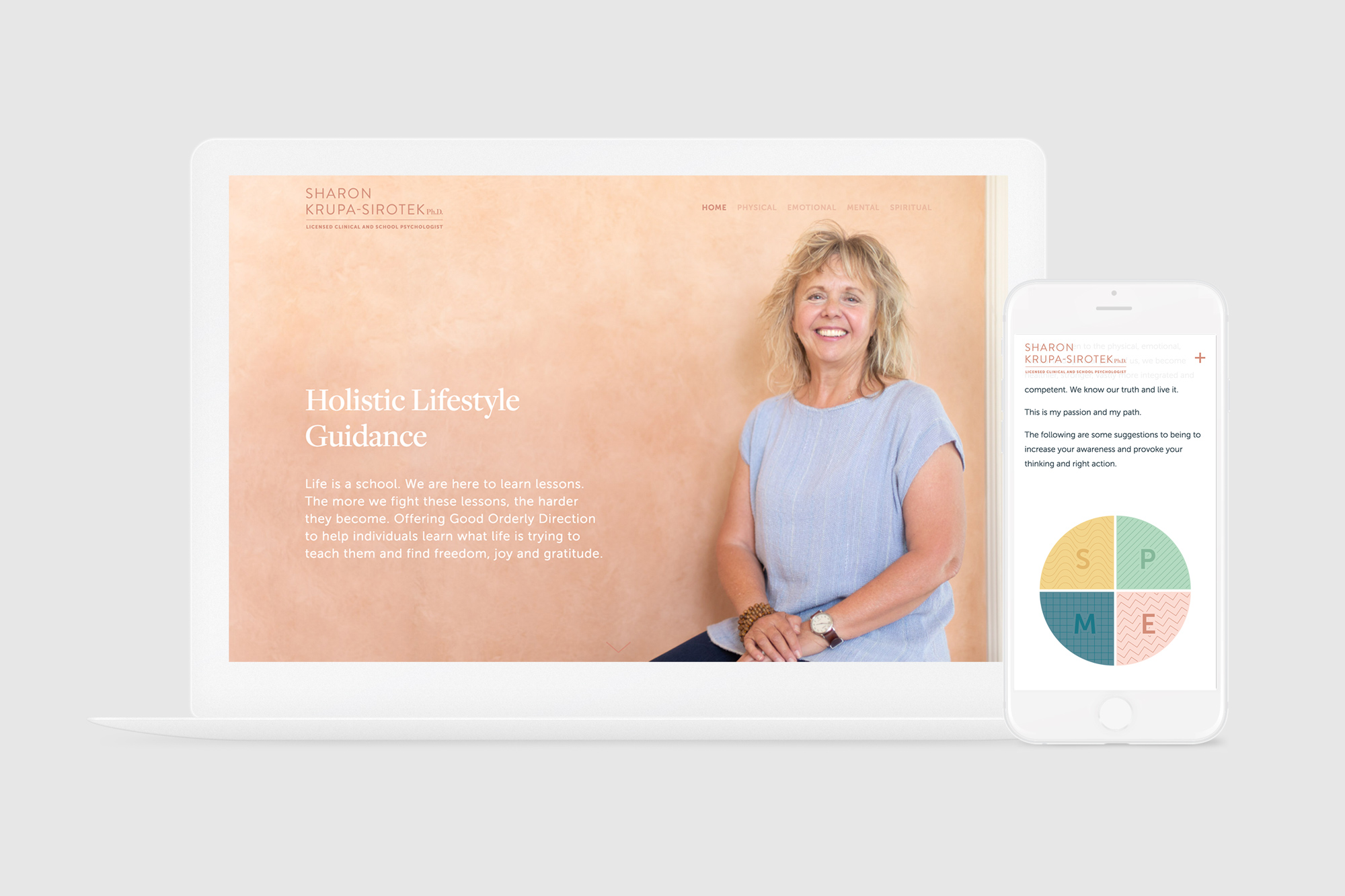The responsive website we designed for Sharon Sirotek, shown on a computer and phone