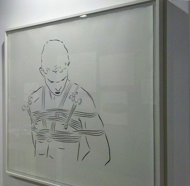 """Die Deutsche Reihe / Serie Alemana (2010-2012) / """"El iniciado (chico con tijeras)"""" (tinta china sobre papel de algodón) 2011, 140 x 150 cm"""