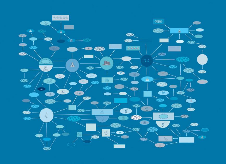 """""""Organized community/Blue"""" (2000), Mural on wall, 300 x 360 cm"""