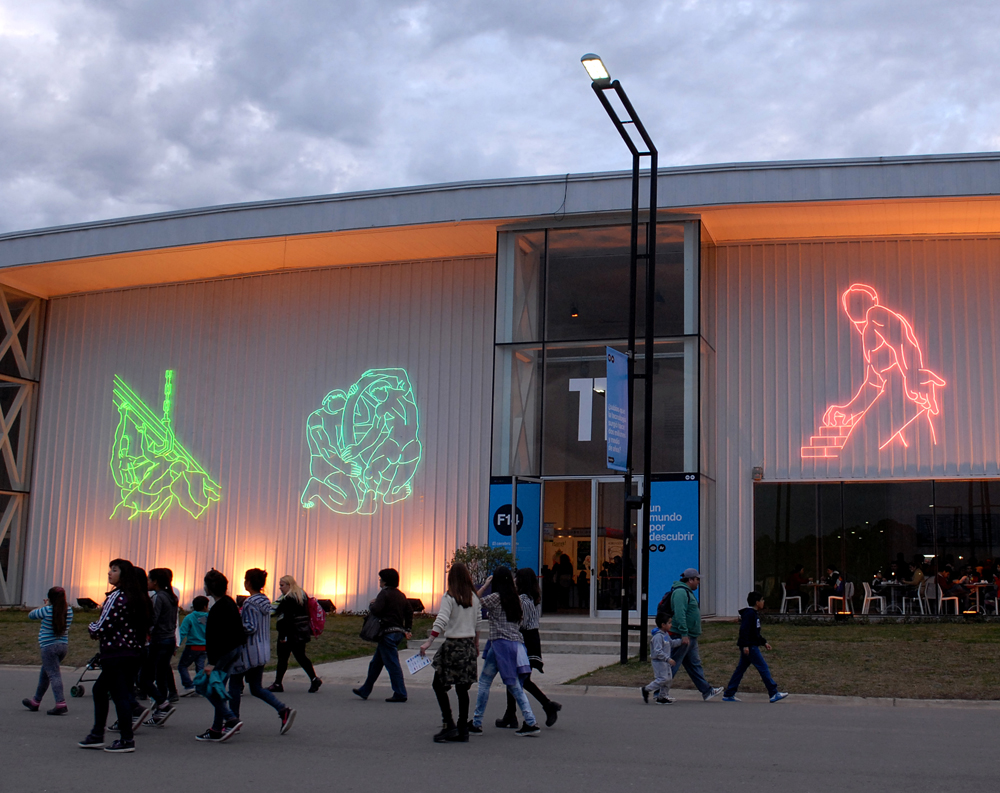 Tecnopolis (Large formate installations). Six pieces installation with neon glass. Variable dimensiones