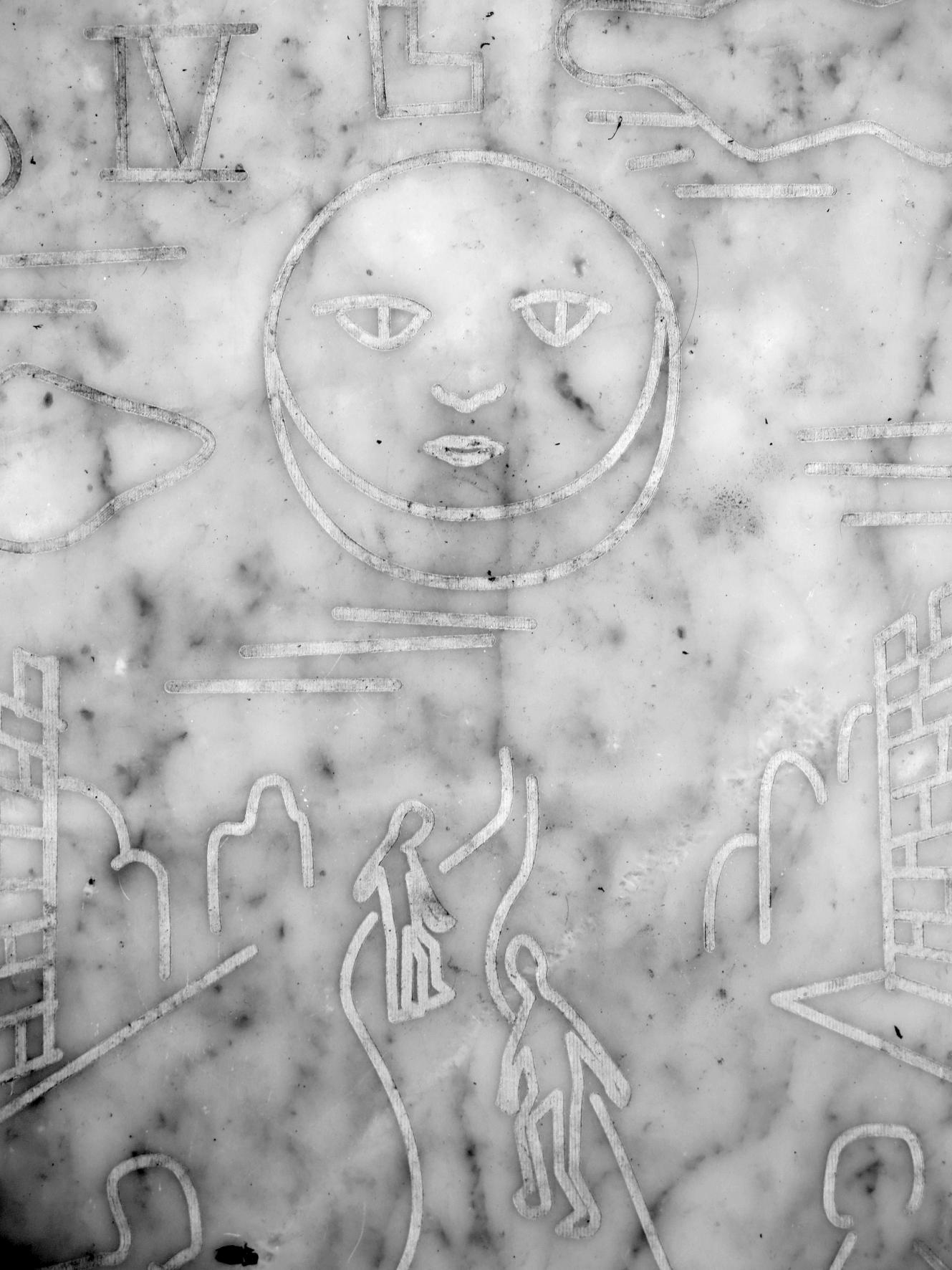 Maze of archetypes (Borges Xul Solar Route). Engraved marble plates (60 x 40 cm).  Buenos Aires, 2015