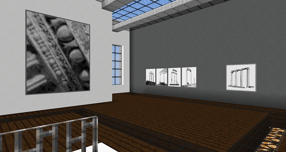 installation of  Lossless  at Localhoast Gallery, in the game of Minecraft (scroll down for info)