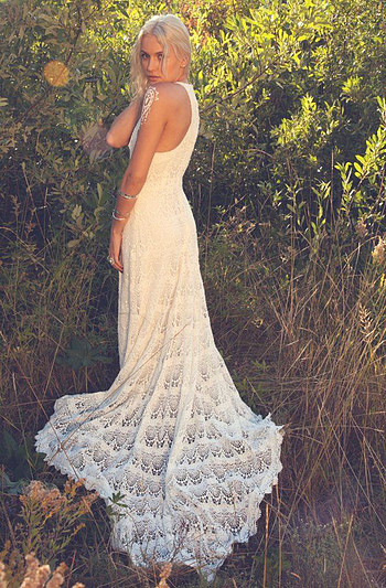 Stunning boho lace wedding dress, made by  Daughters of Simone .