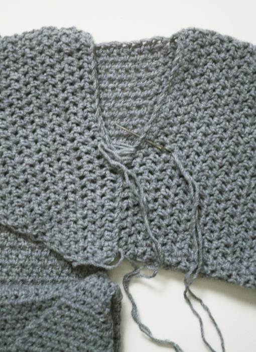 Sewing the upper cross-section to the right sleeve.
