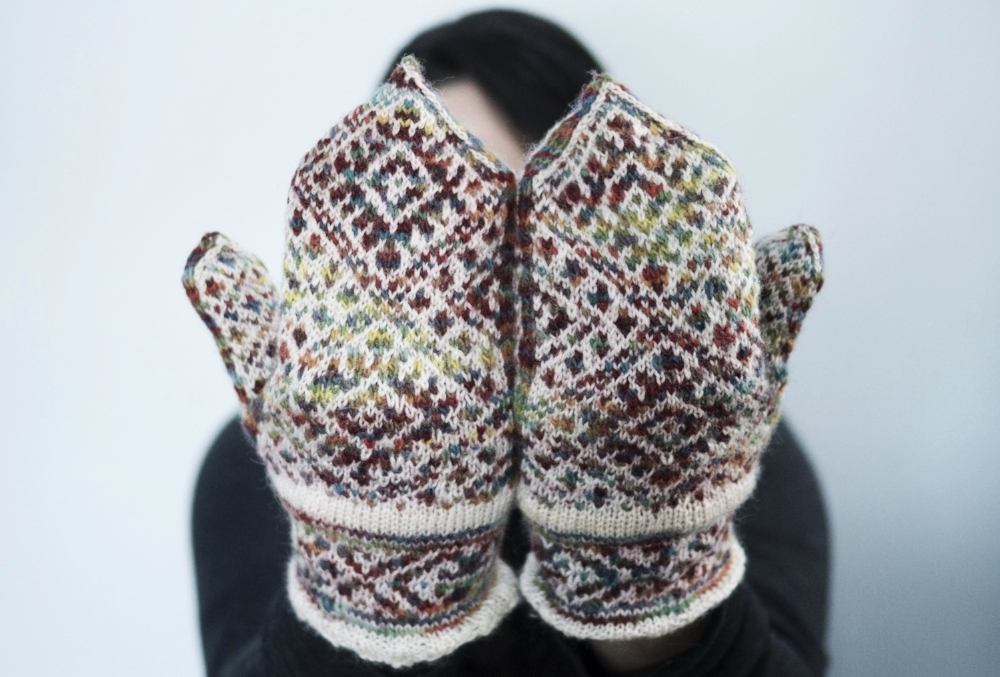 Heather Desserud's  Ruba'iyat Mittens , made for my mother, 2014.