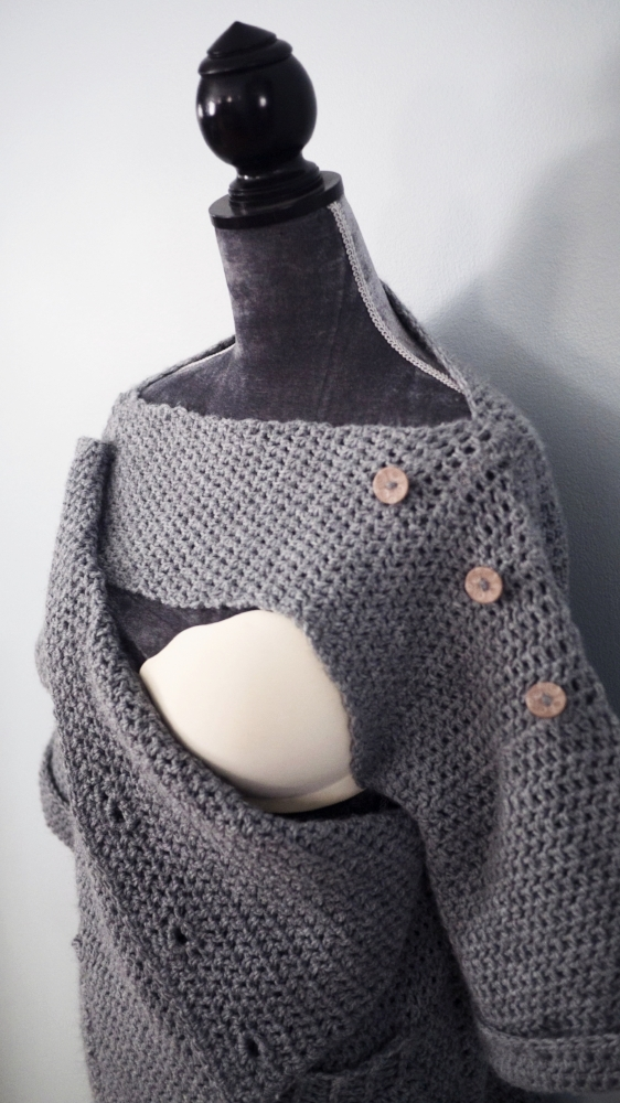 Unbuttoned front section of the modified Homebody sweater for easy nursing.