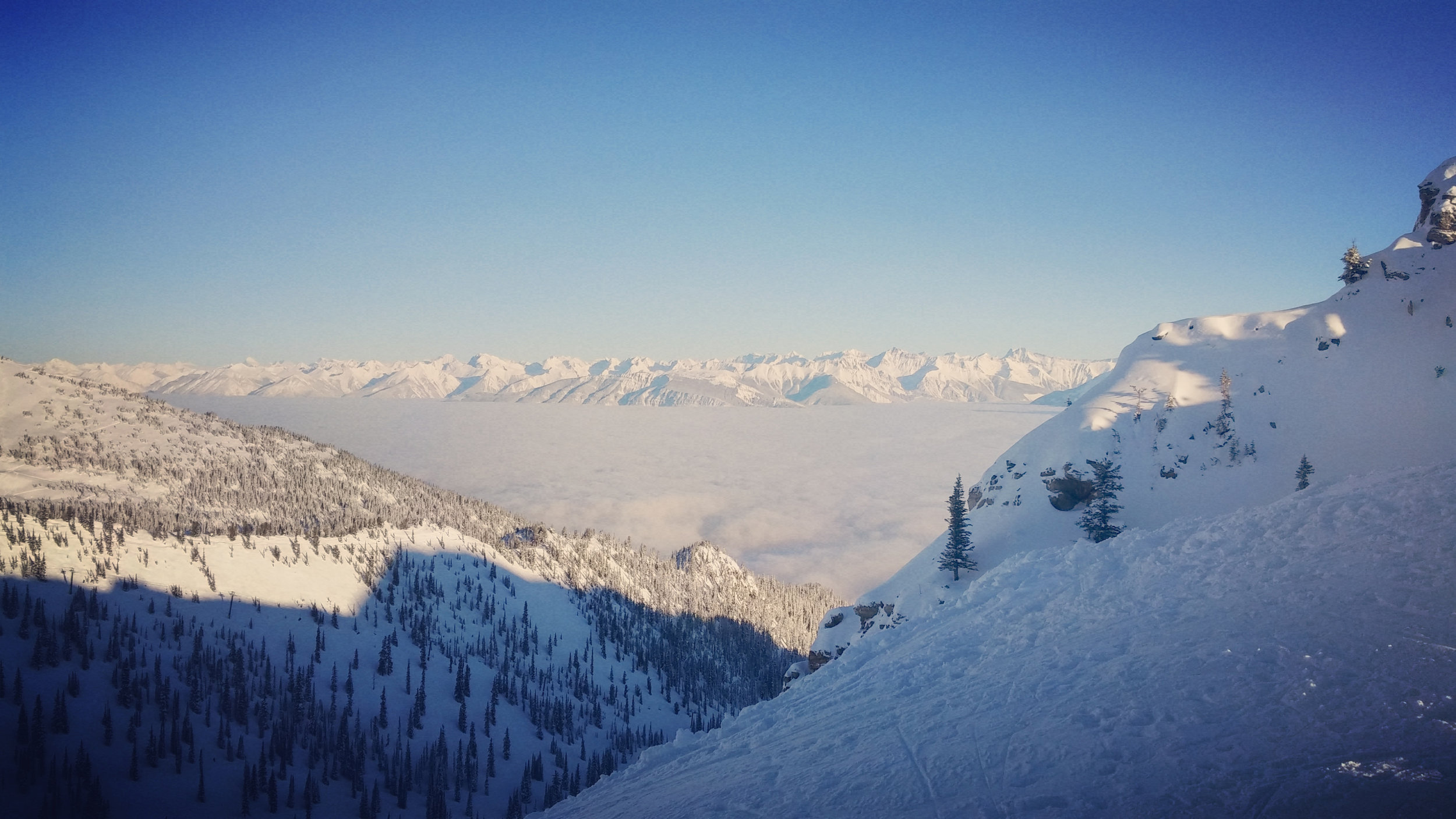 View of the inversion layer from the top of Kicking Horse Resort.