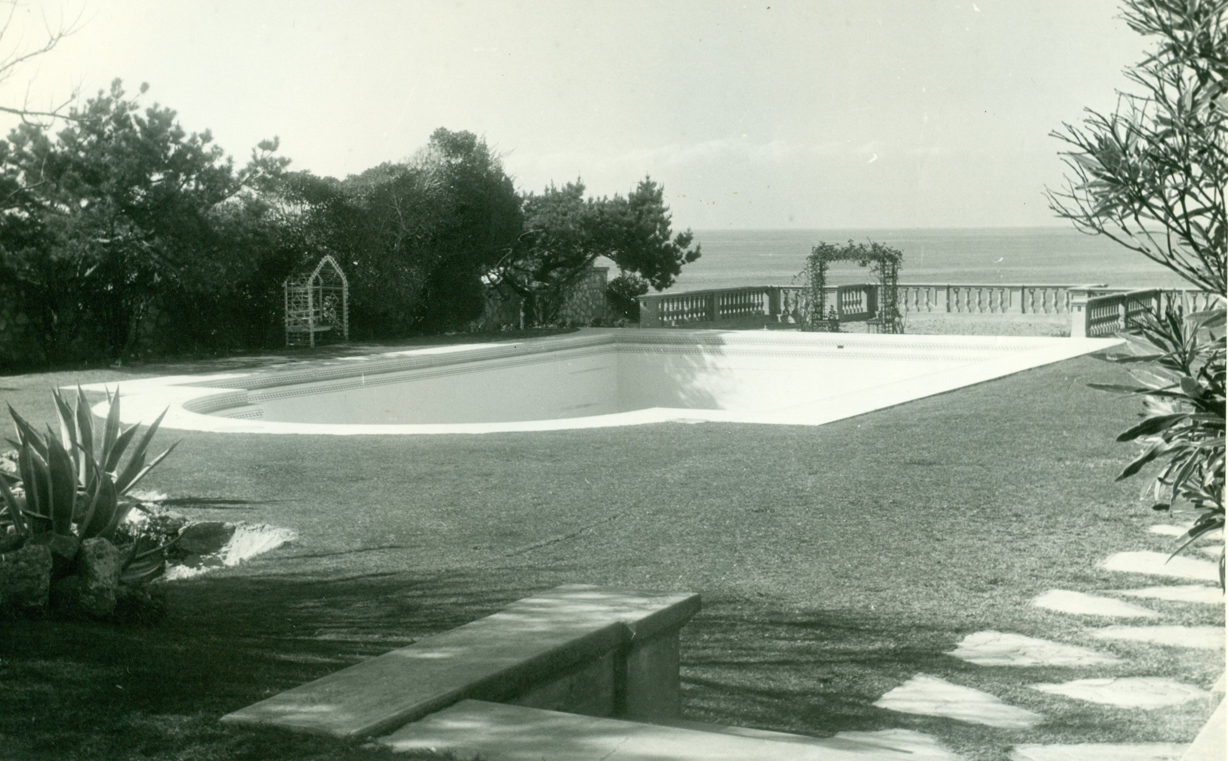 The pool that used to be on the west lawn
