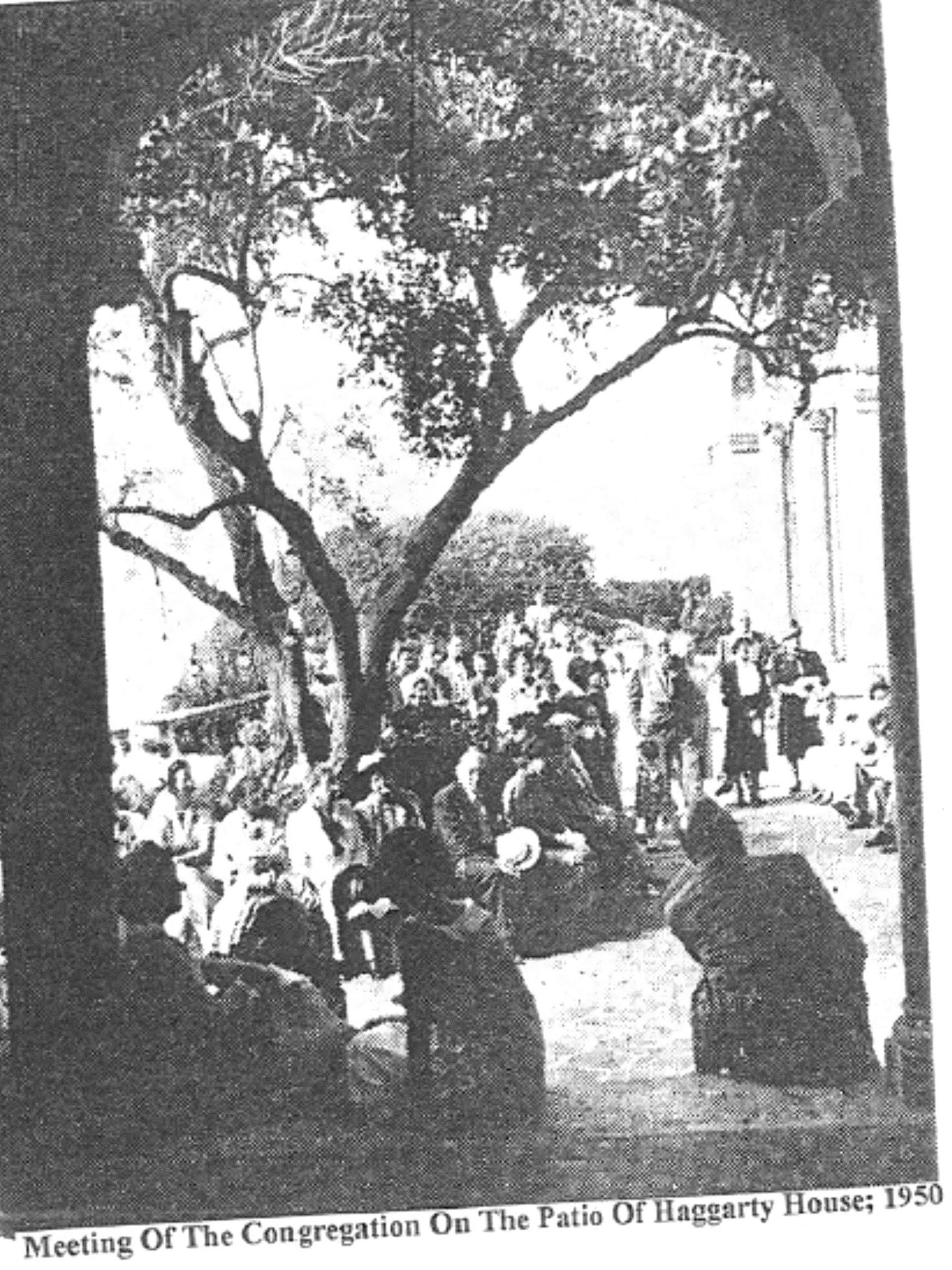 1950 meeting on the patio where the congregation voted whether or not to buy the place