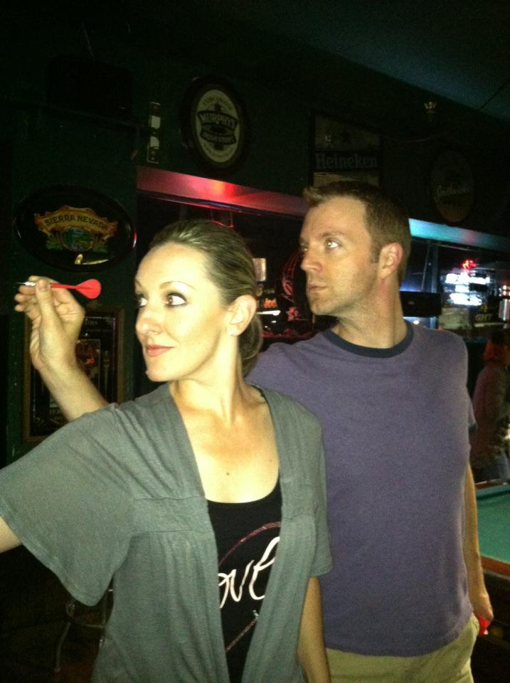 Heather and I even play darts dramatically.