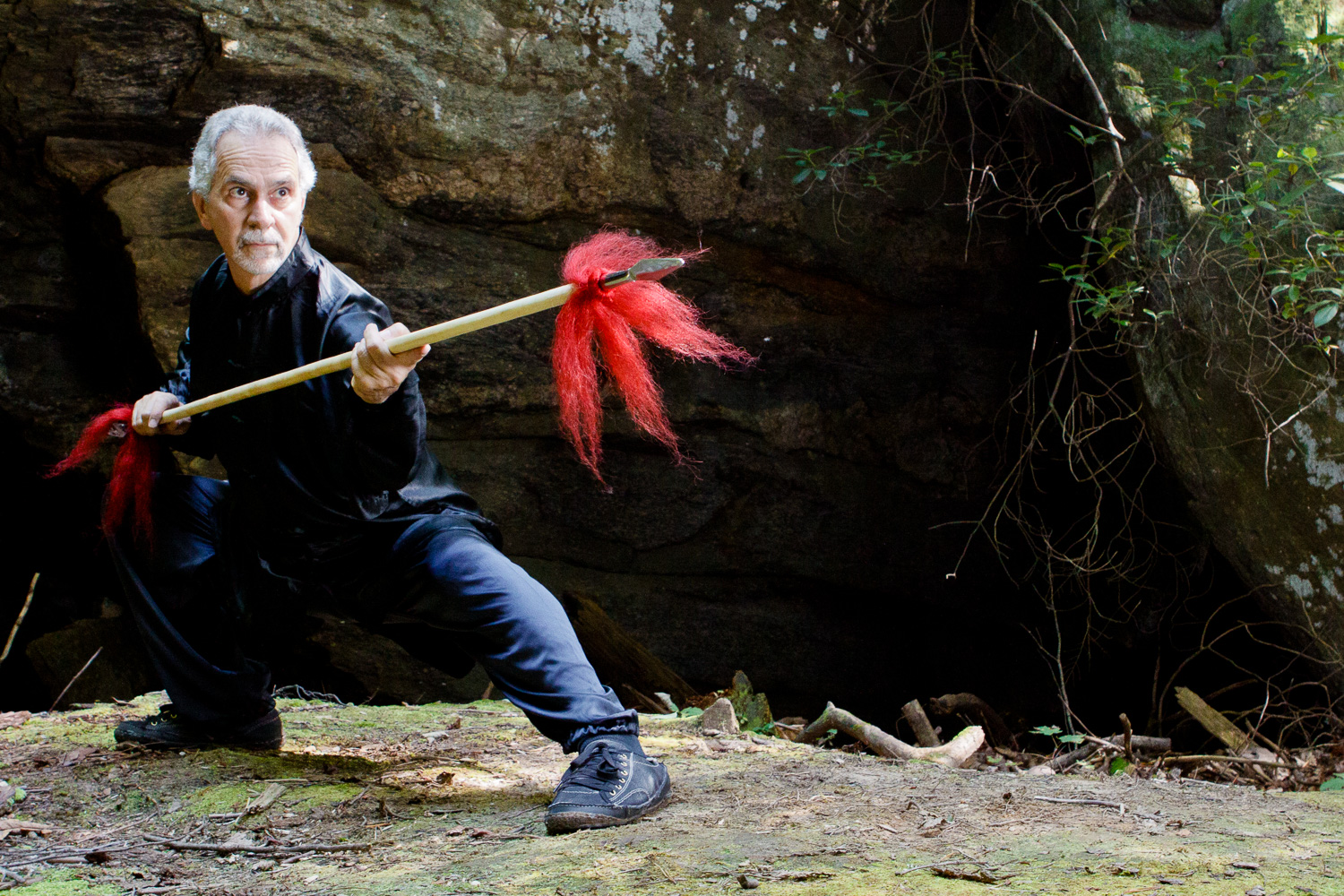 Sifu Paolillo with double-headed spear, 2012