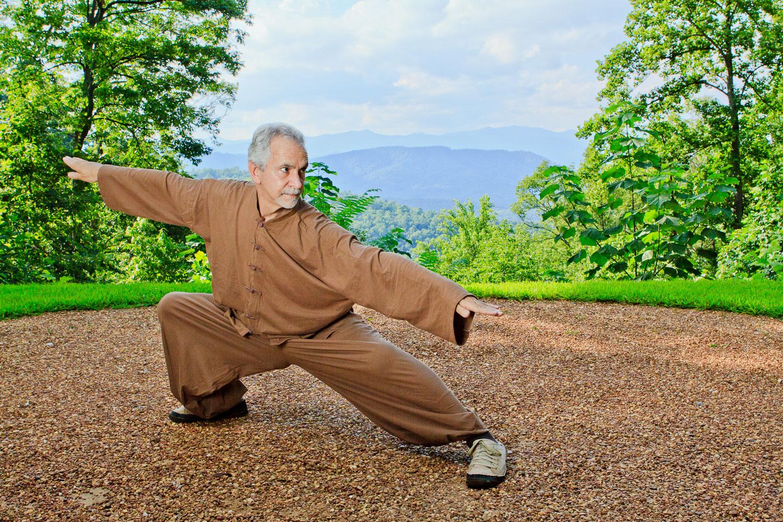 Sifu Paolillo in swallow posture at Tao Mountain Sanctuary, 2012