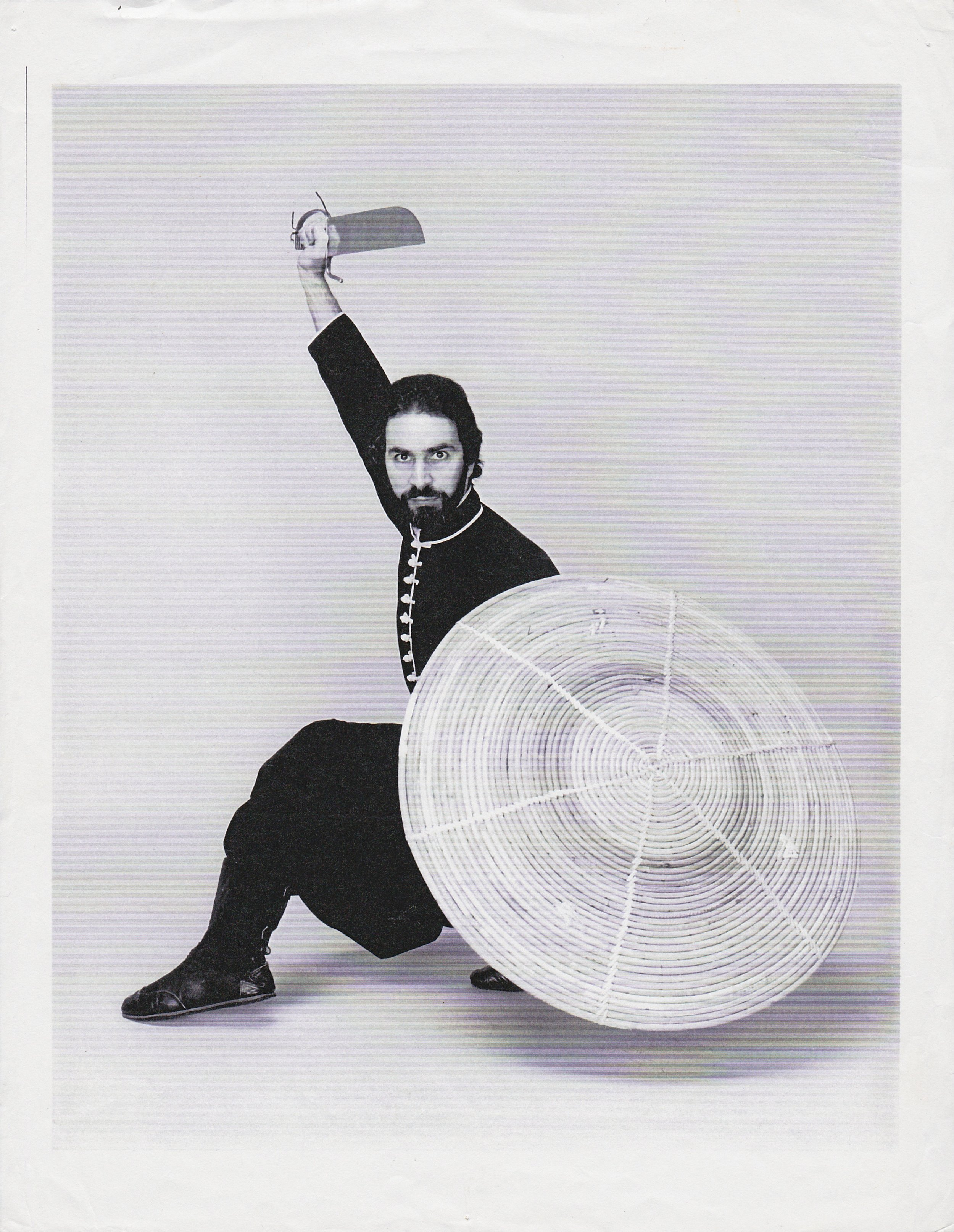 Master Paolillo with shield and butterfly sword, late 1970s