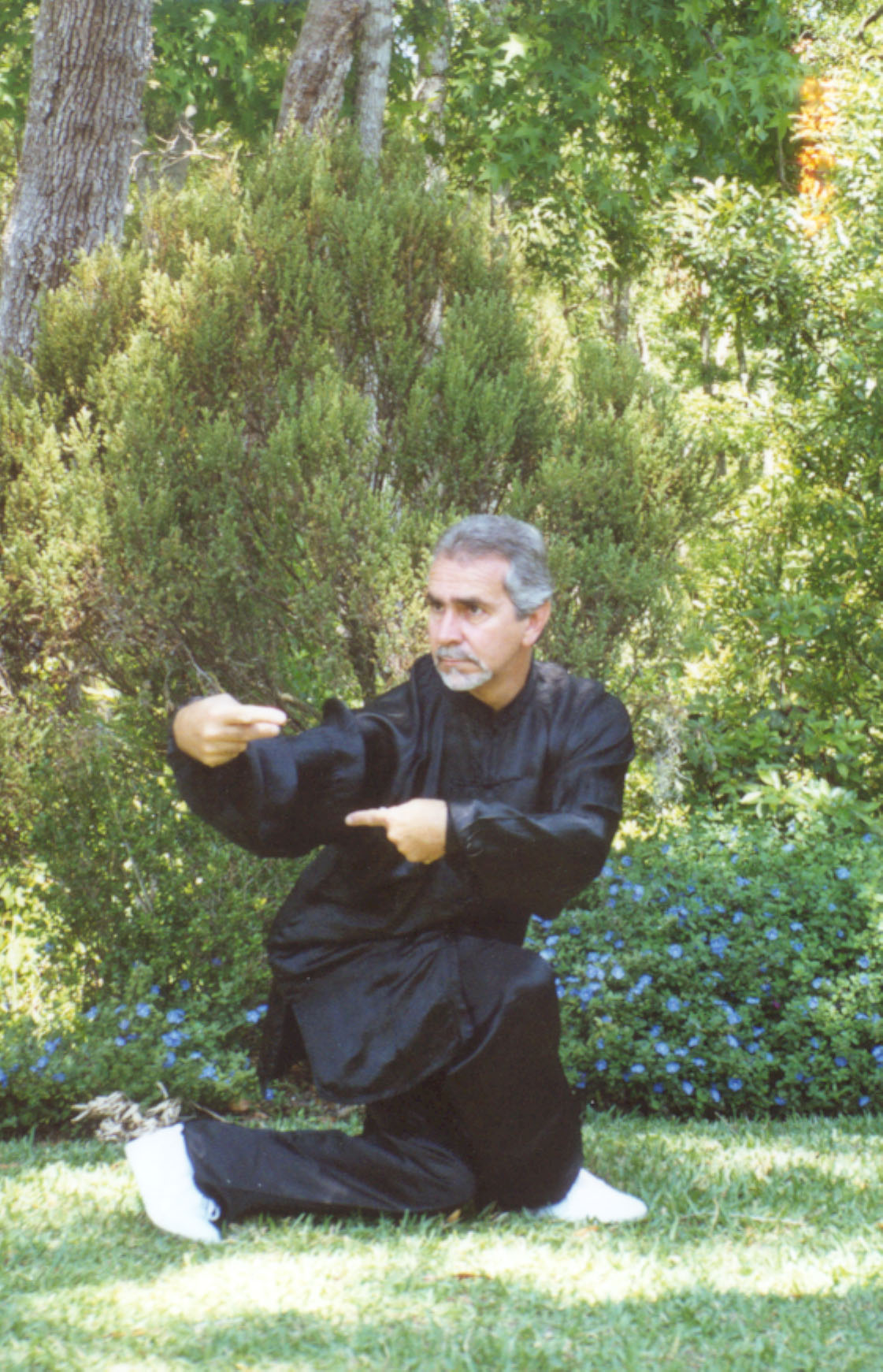 Sifu Paolillo in Praying Mantis posture, late 90s