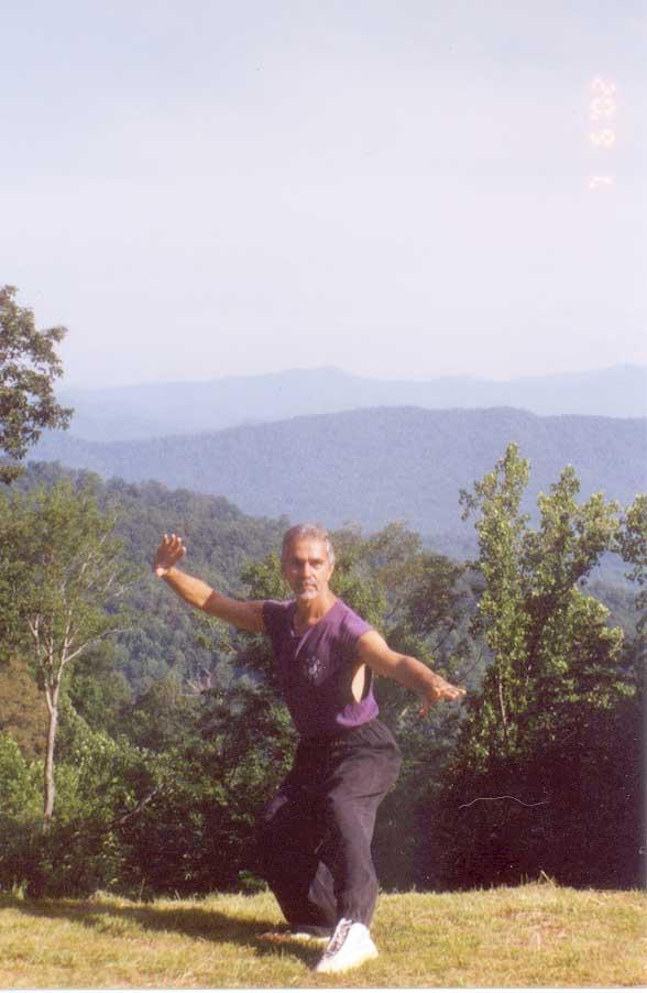 Sifu Paolillo on the training area at the Tao Mountain Sanctuary, 2003
