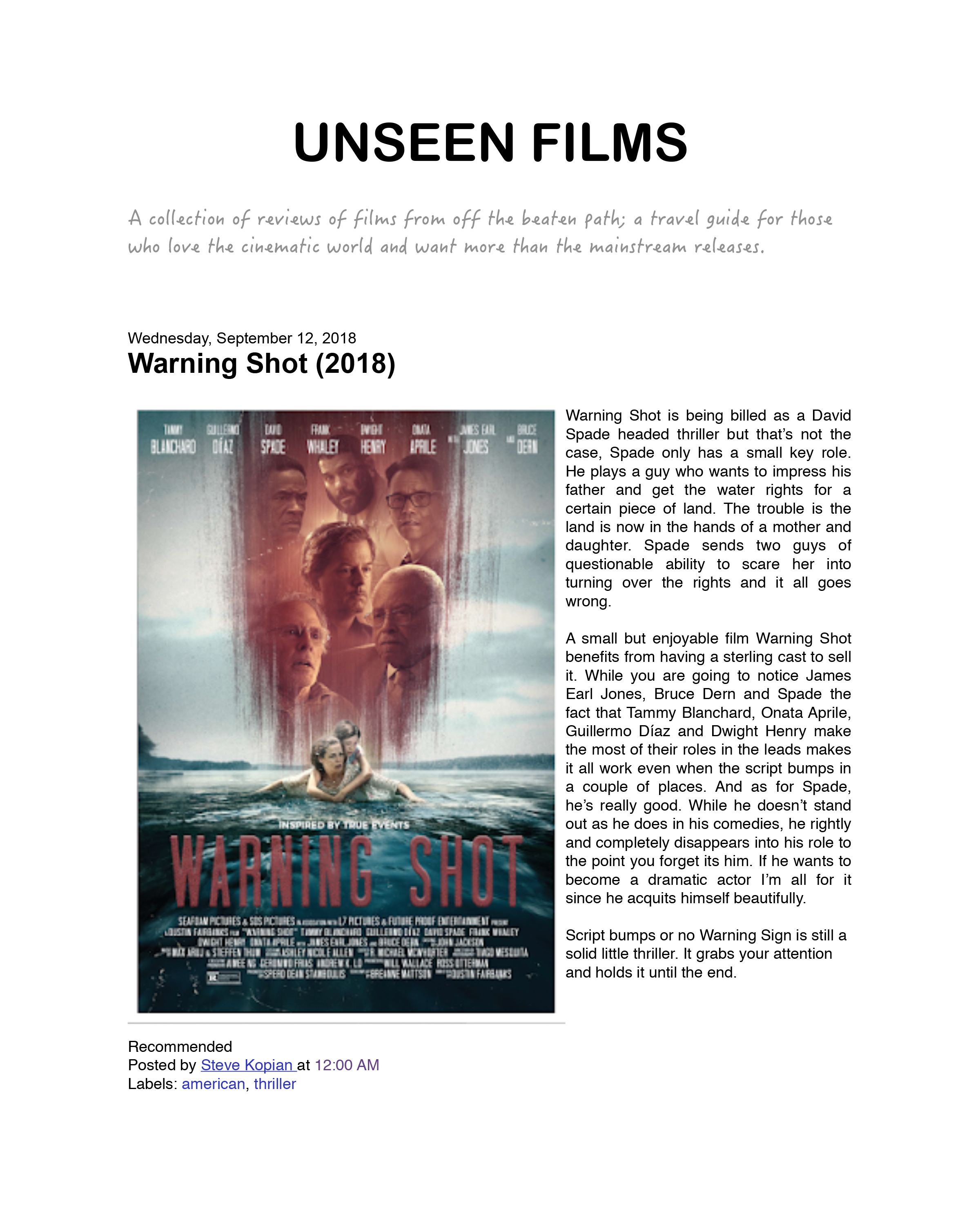 Unseen Films Review - 09/12/2018