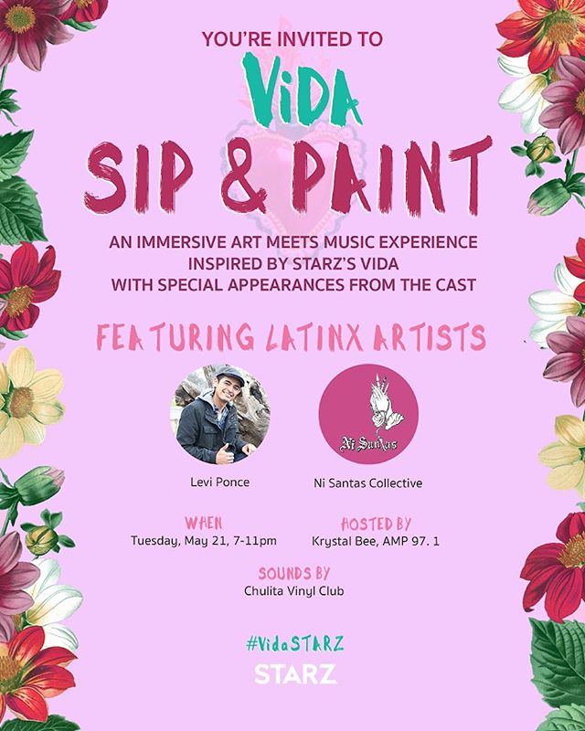 👩🏽🎨👩🏽🎨We are excited to create a live art piece at the VIDA Sip and Paint next Tuesday, 5/21 to celebrate Season 2 of@vida_starzon May 24th! 👩🏽🎨👩🏽🎨 #VIDA #STARZ