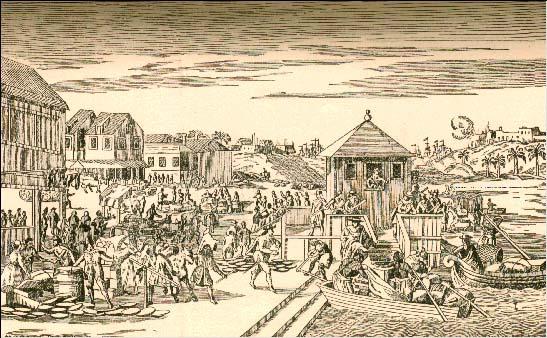 Grabado del siglo XVIII de la Feria de Portobelo, punto clave de la red comercial por concentrar los recursos económicos de gran parte del continente sudamericano.  Fuente.
