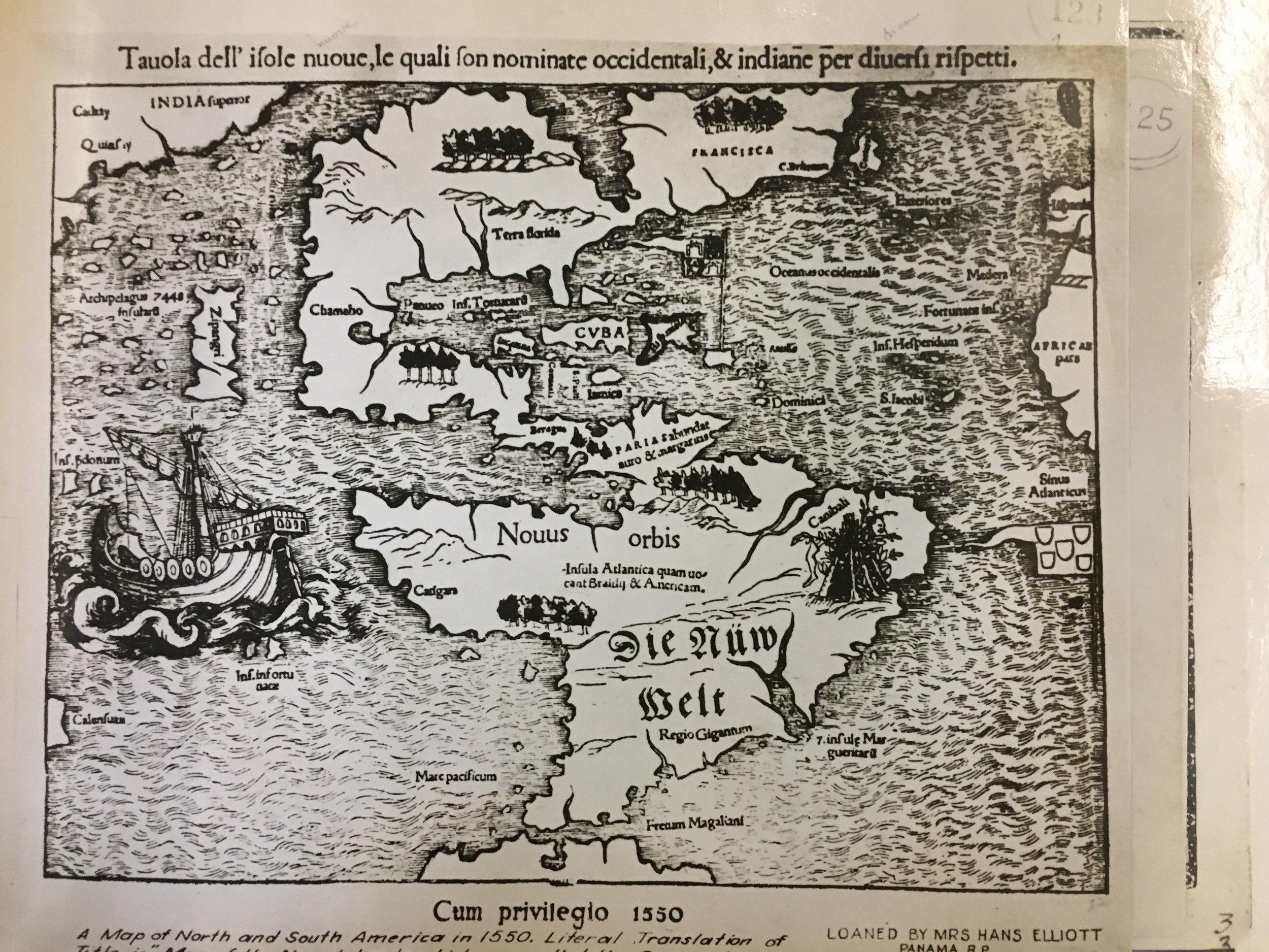 Mapa 1550 - Cortesía de la Biblioteca de la Autoridad del Canal de Panamá.