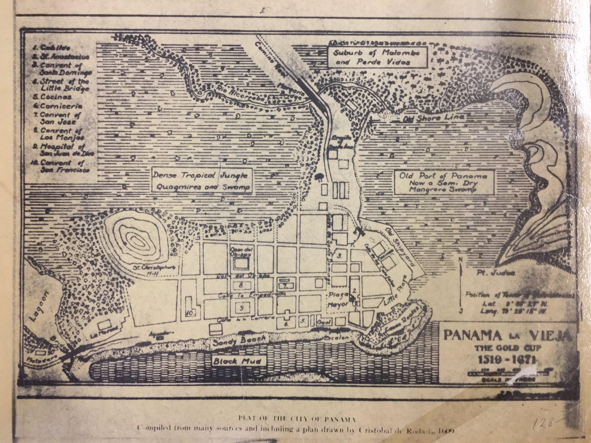 Mapa Panamá La Vieja 1519 - 1671  Cortesía de la Biblioteca de la Autoridad del Canal de Panamá