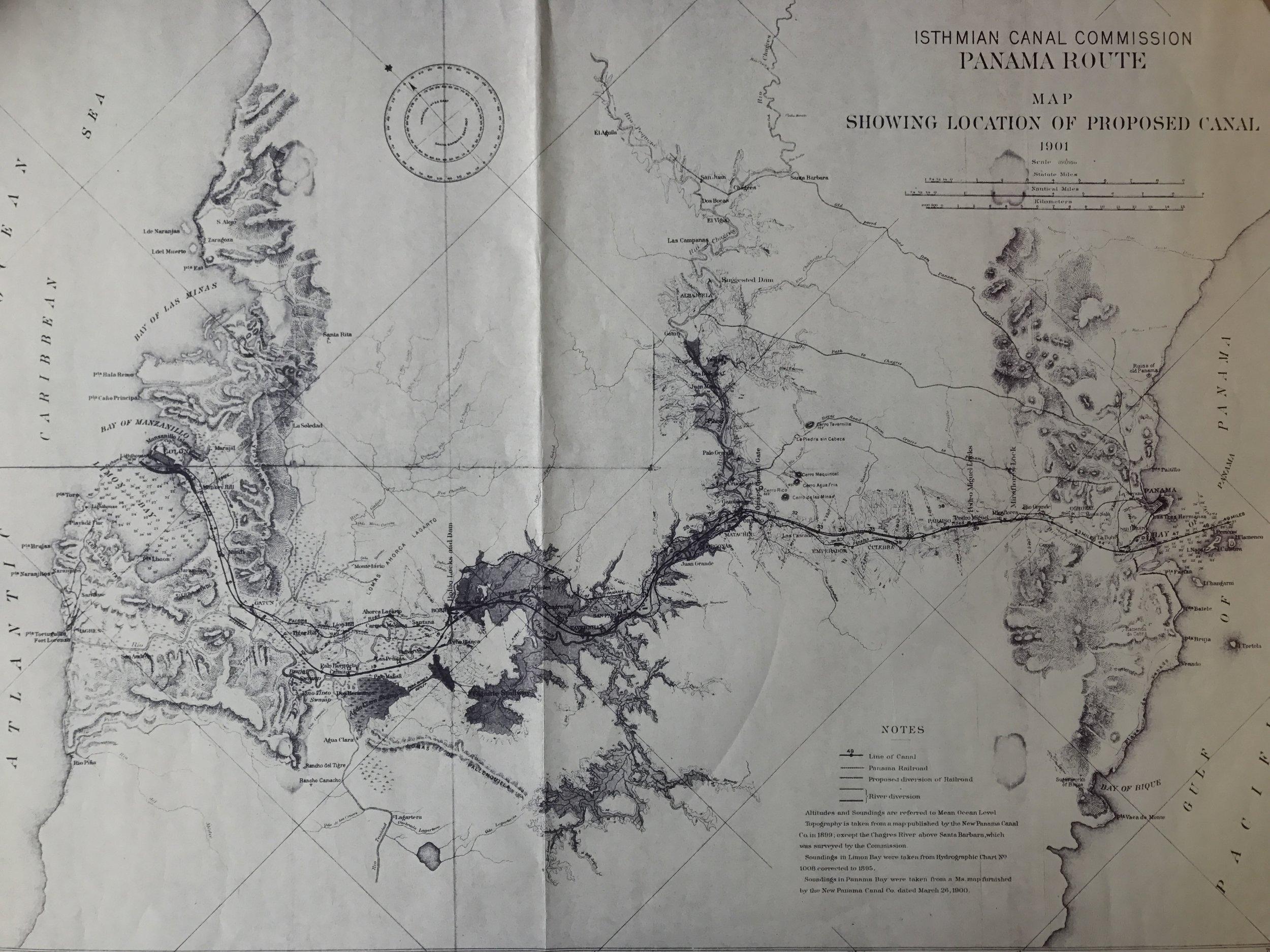 Mapa cortesía de la Biblioteca del Canal de Panamá