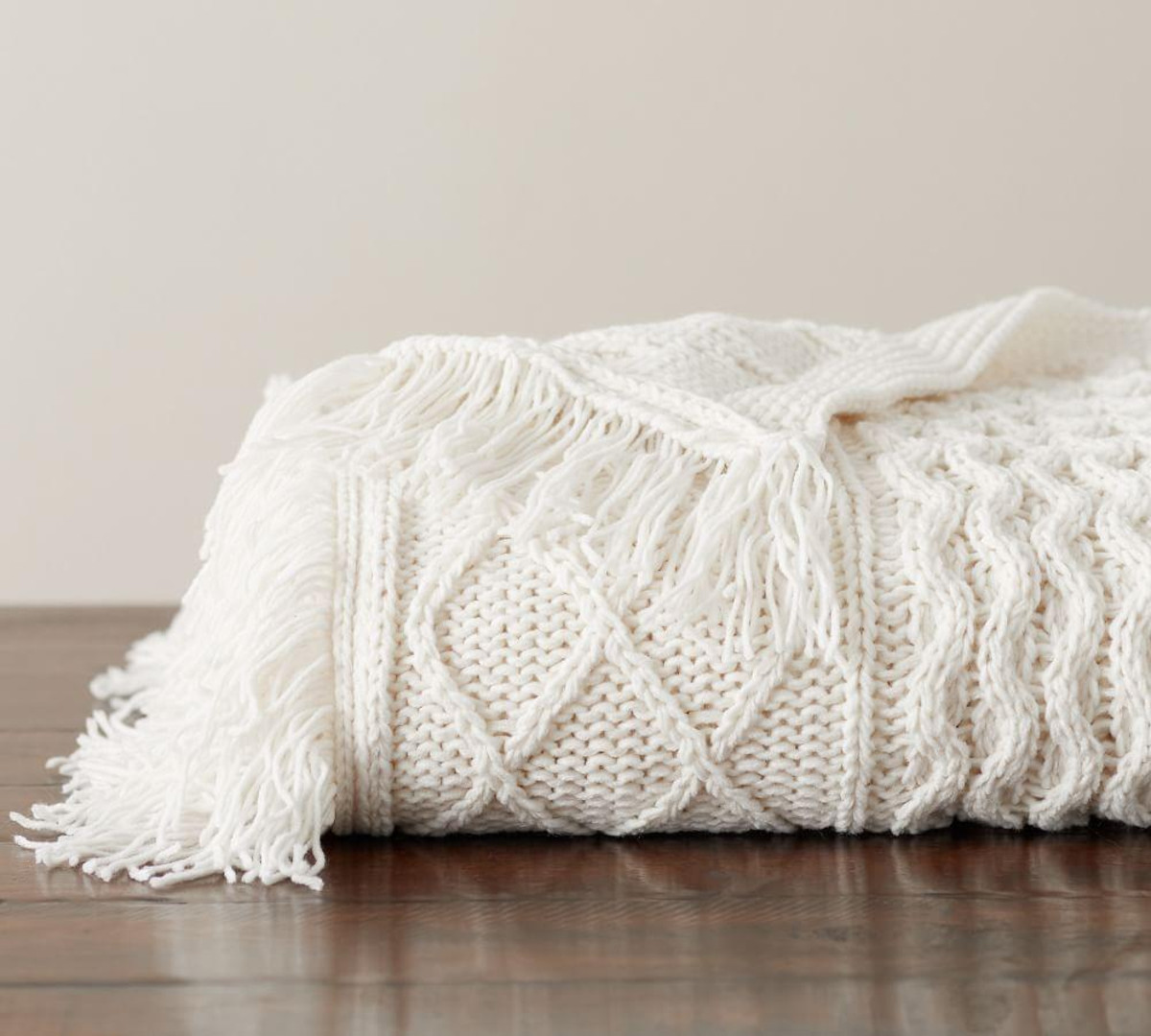 Cable Fringe Throw