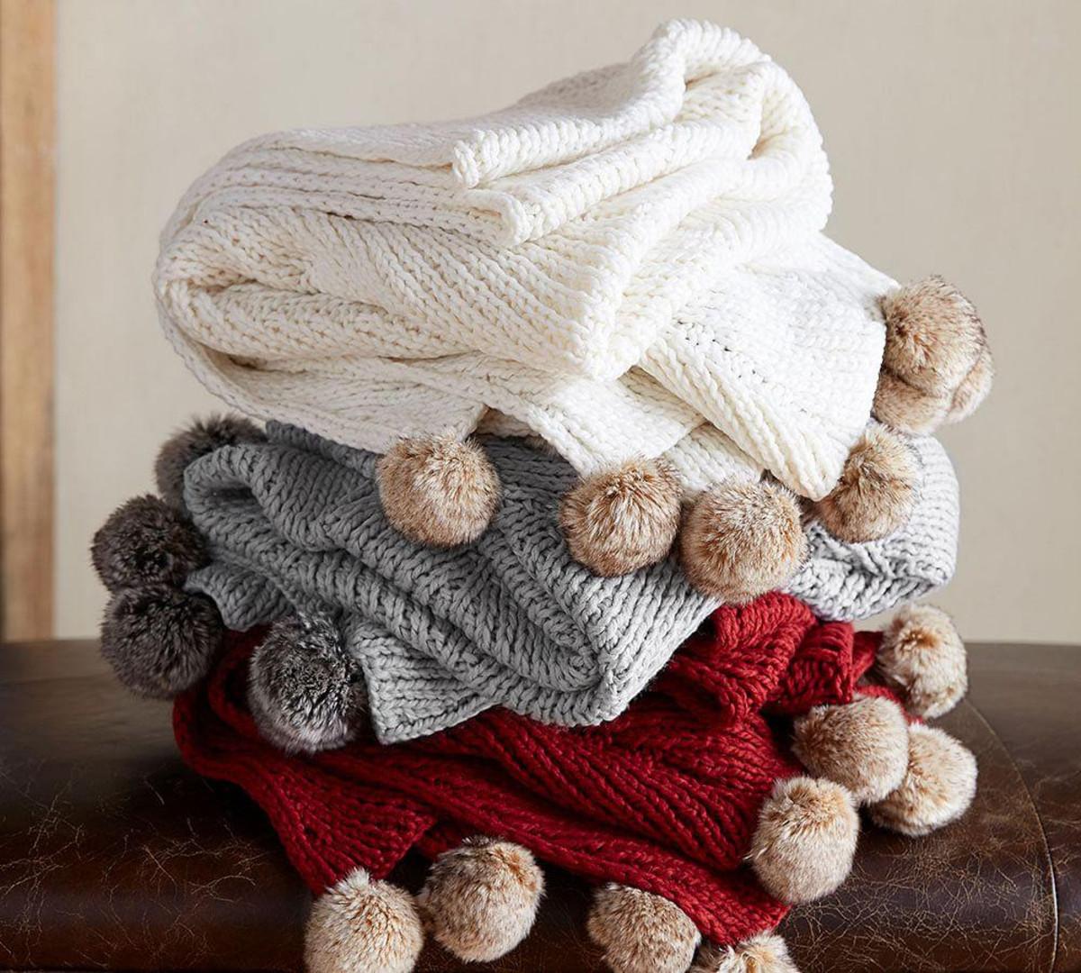 Pom Pom Knitted Throw