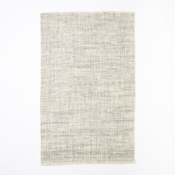 Mid-Century Heathered Basketweave Wool Rug (Steel) -   Was $175, Now $129