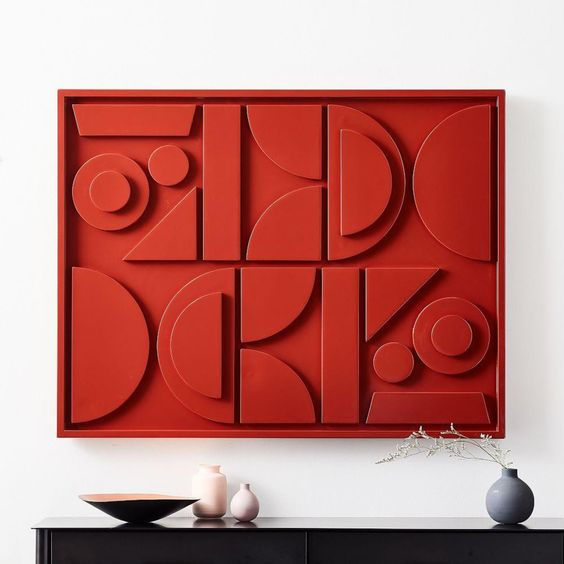 Pictograph Wall Art (Lacquer) in Paprika -   Was $279, Now $119.99