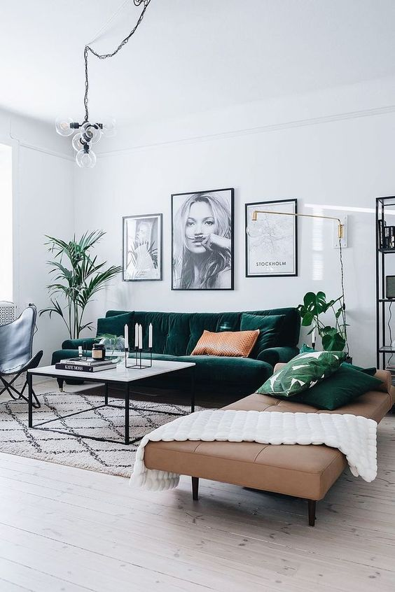 - Modern Living Room with a Pop of Colour