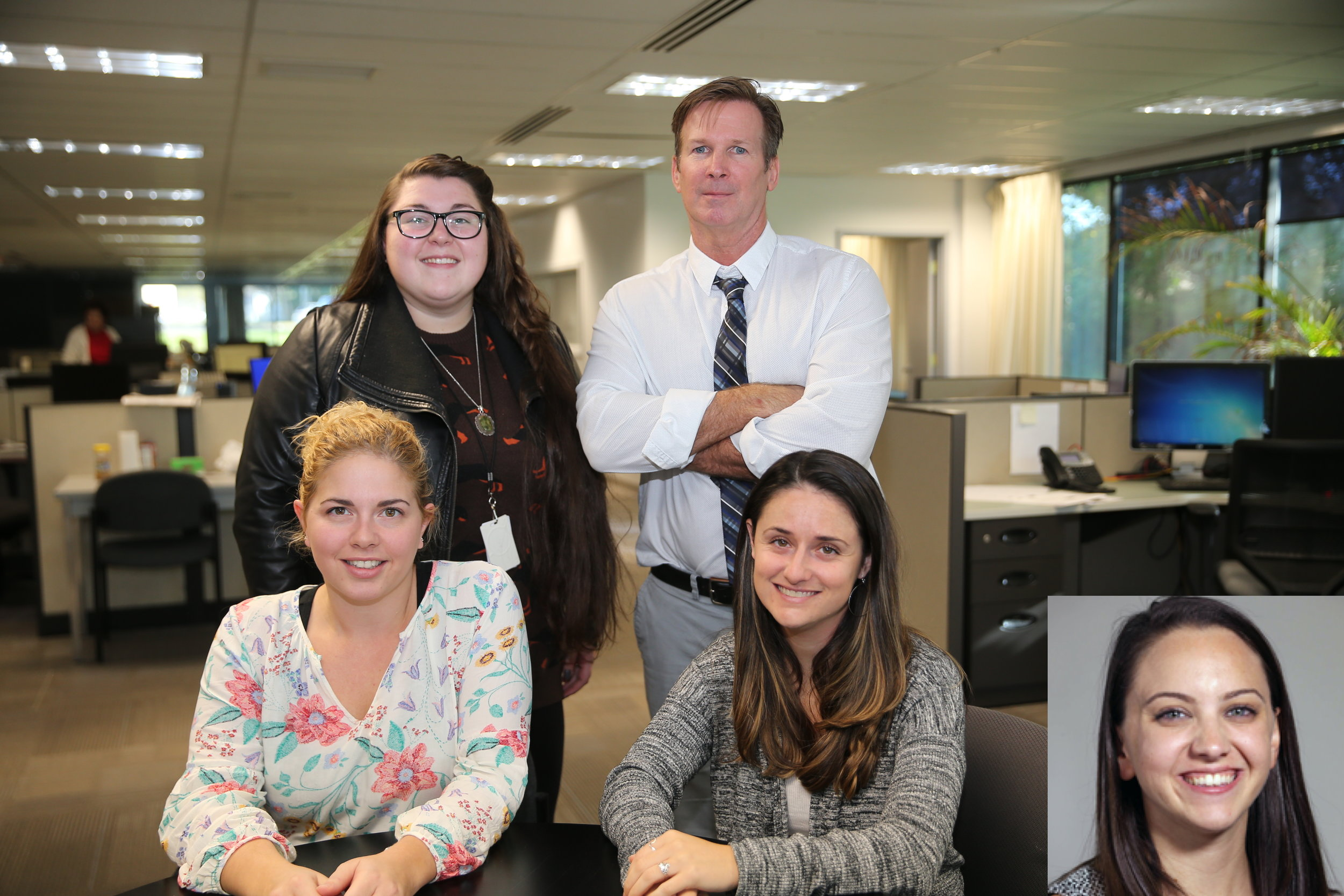 "The Press of Atlantic City team (seated L-R), education reporter Claire Lowe, health/medical reporter Nicole Leonard, (standing L-R), public safety reporter Molly Bilinski, managing editor W.F. ""Buzz"" Keough, (inset), staff reporter Erin Serpico."