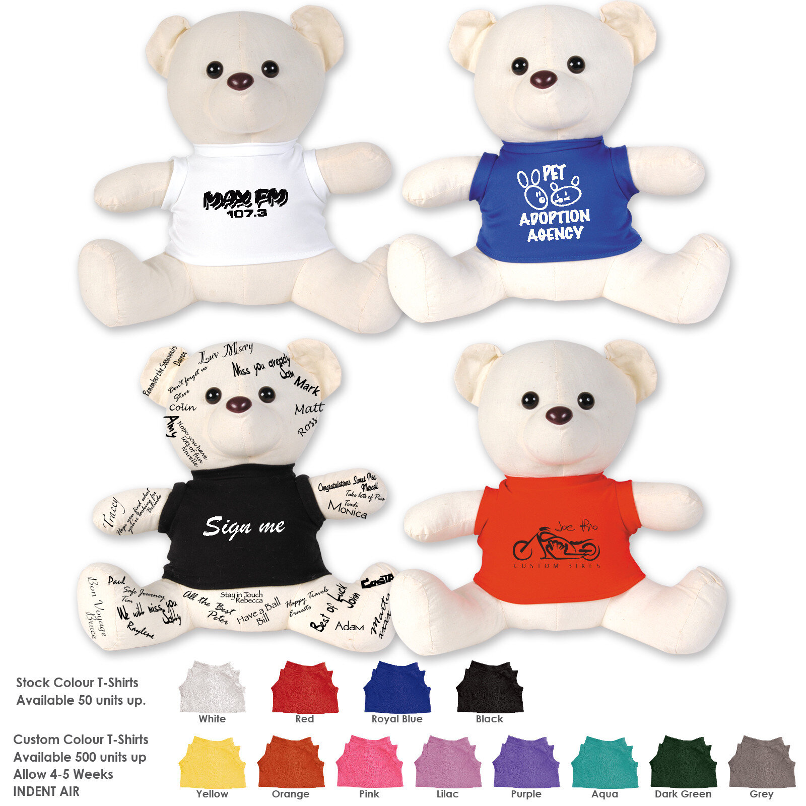 The Original Signature Calico Bear  Minimum Order Quantity 50 units for white, blue, black and red Tshirts with bears / Min 500 for other colours    Request a Quote