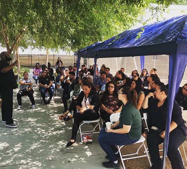 We are growing! We've outgrown our own clinic space for our quarterly all staff meeting. Today we met under the shade at our Fremont Wellness Center and garden. 62+ staff working hard everyday to serve the South LA community!