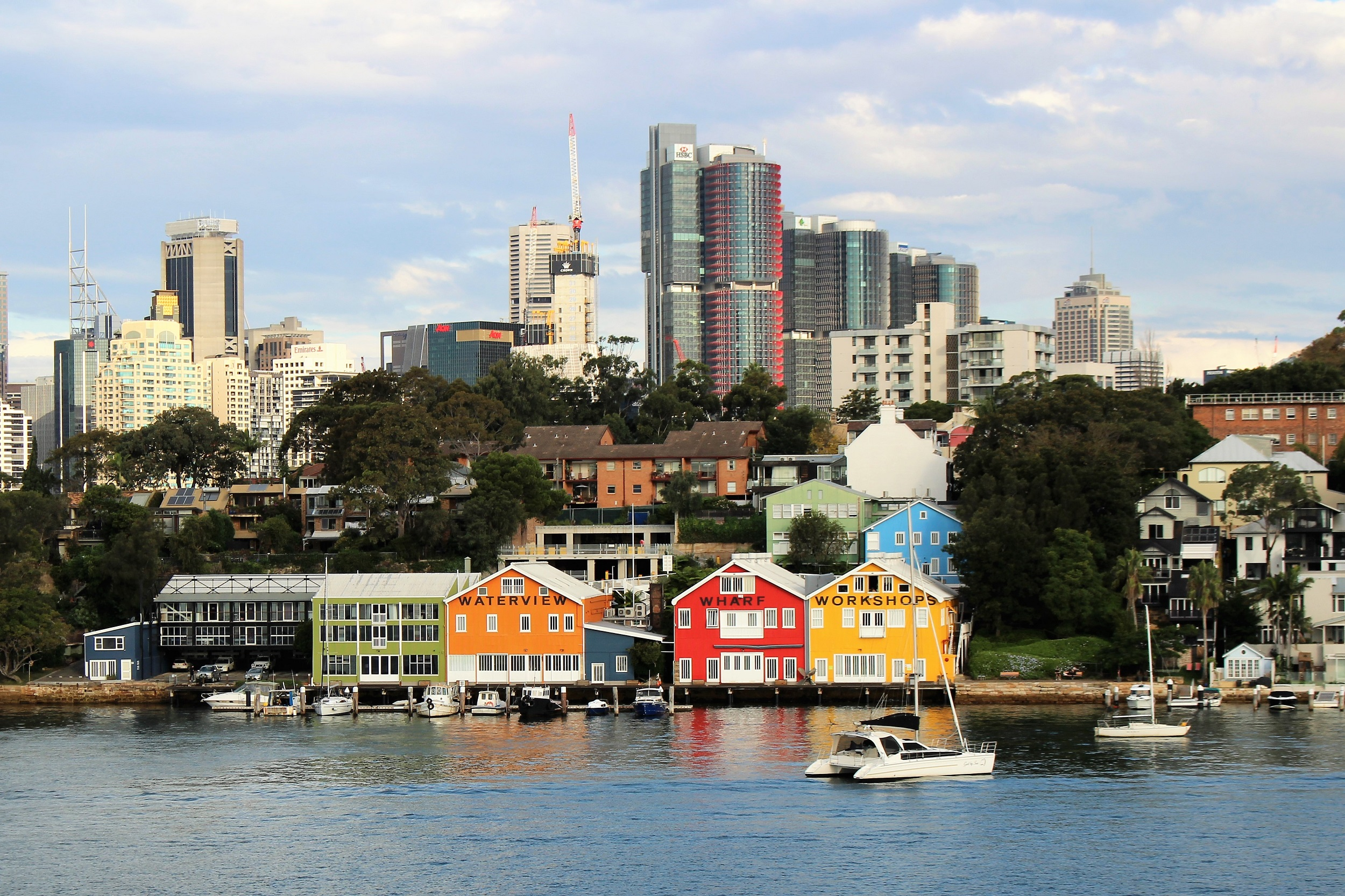 The bright colours of Mort Bay as seen from Ballast Point - Barangaroo and city buildings in the background.