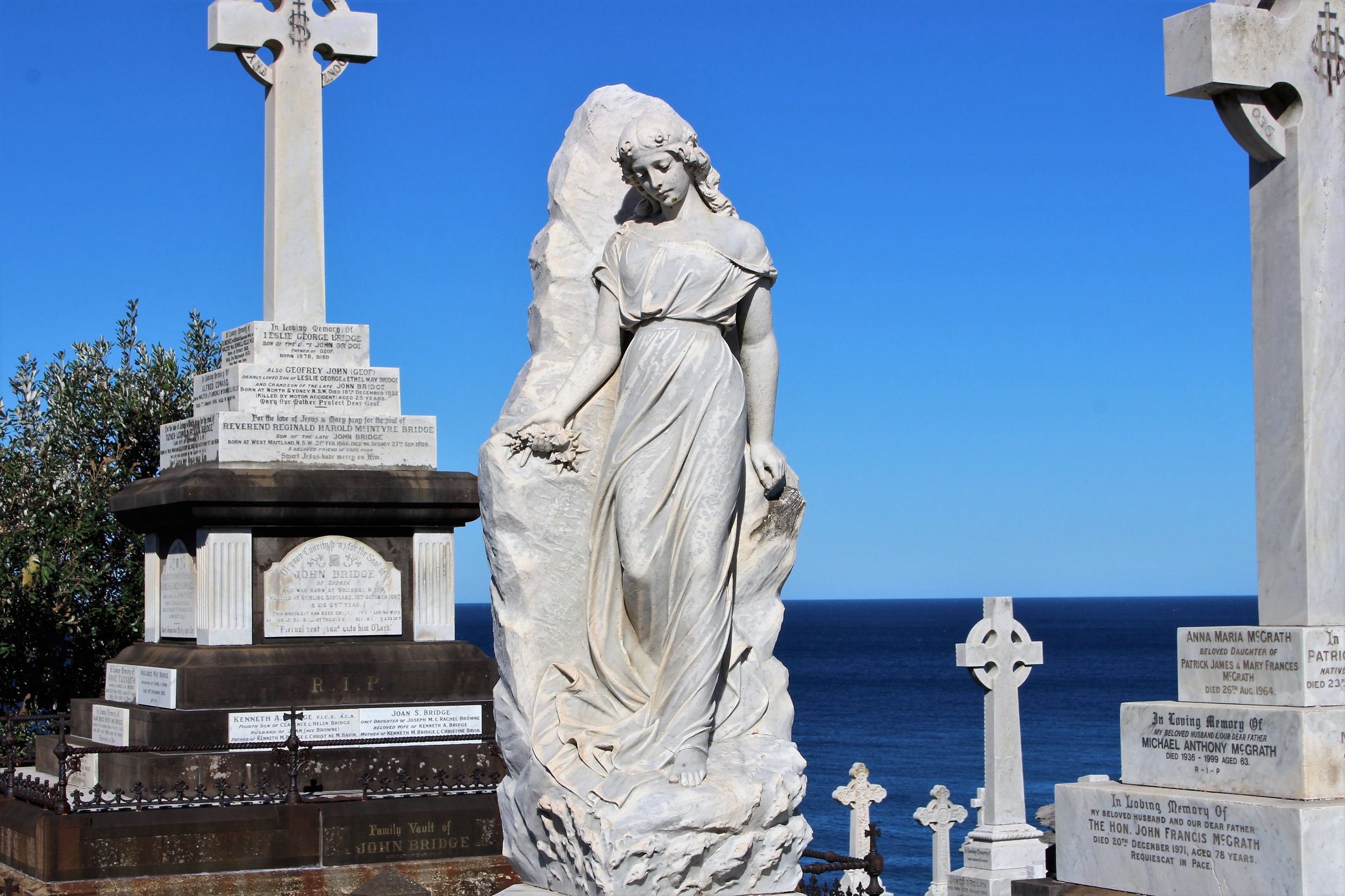 a graceful sculpture remembering a woman who passed away in 1910
